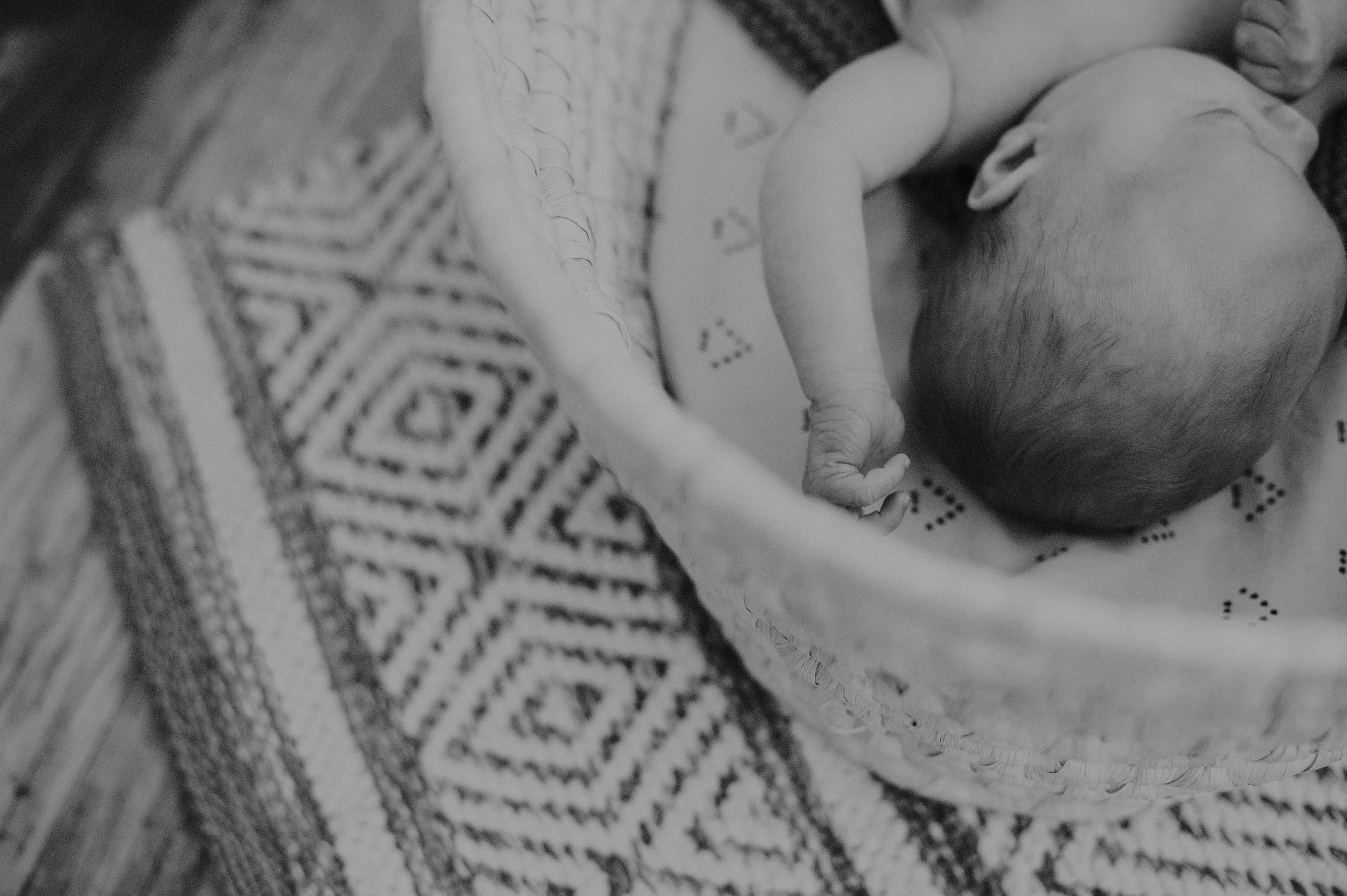 Baby boy lying in Moses basket