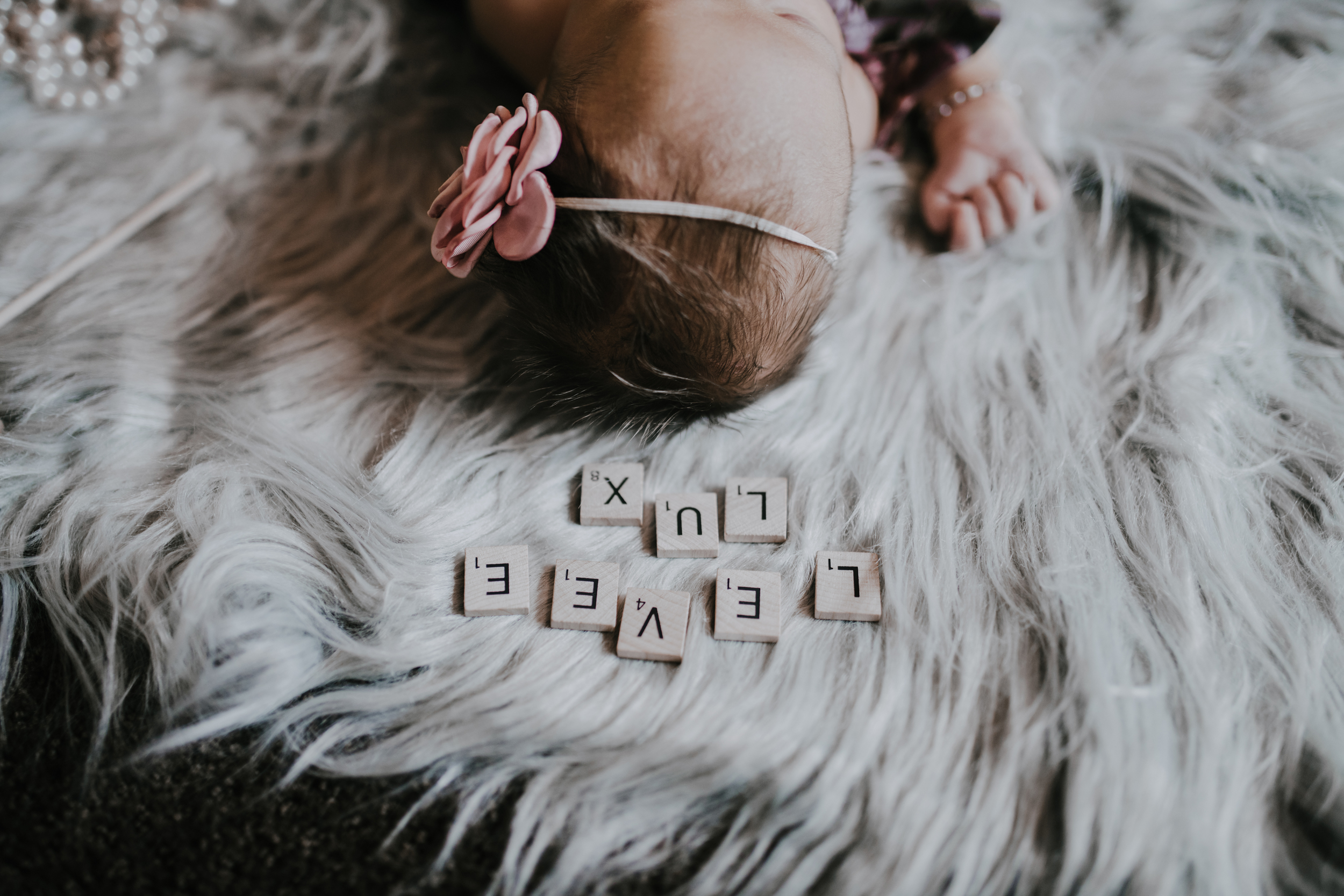 Baby name with scrabble blocks