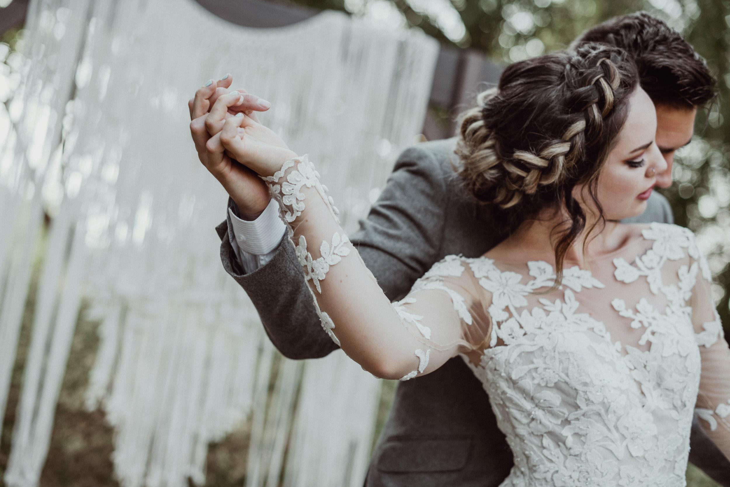 Boho bridal braid lace dress