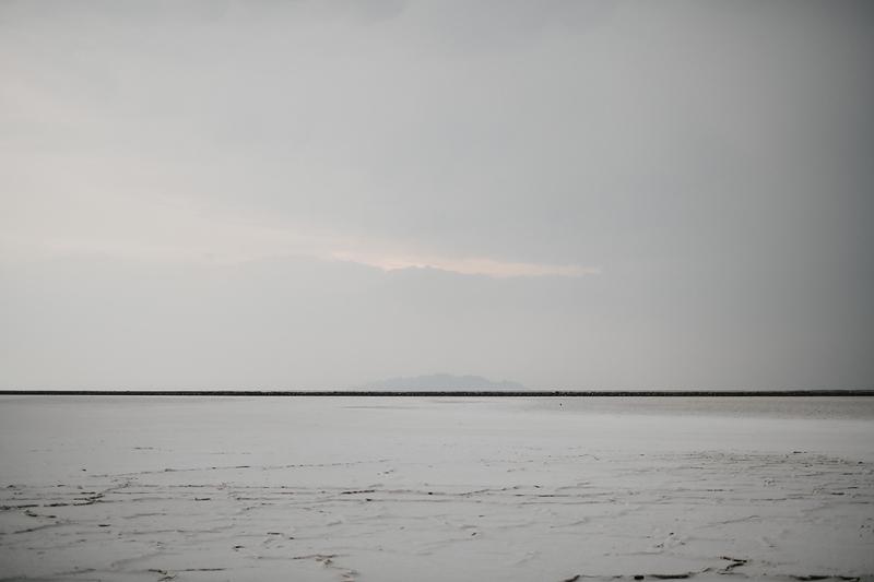 landscape scene of the bonneville salt flats with soft skies