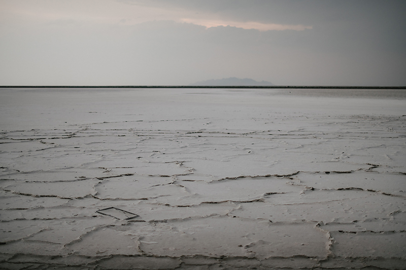 landscape of salt flats ridges with soft skies