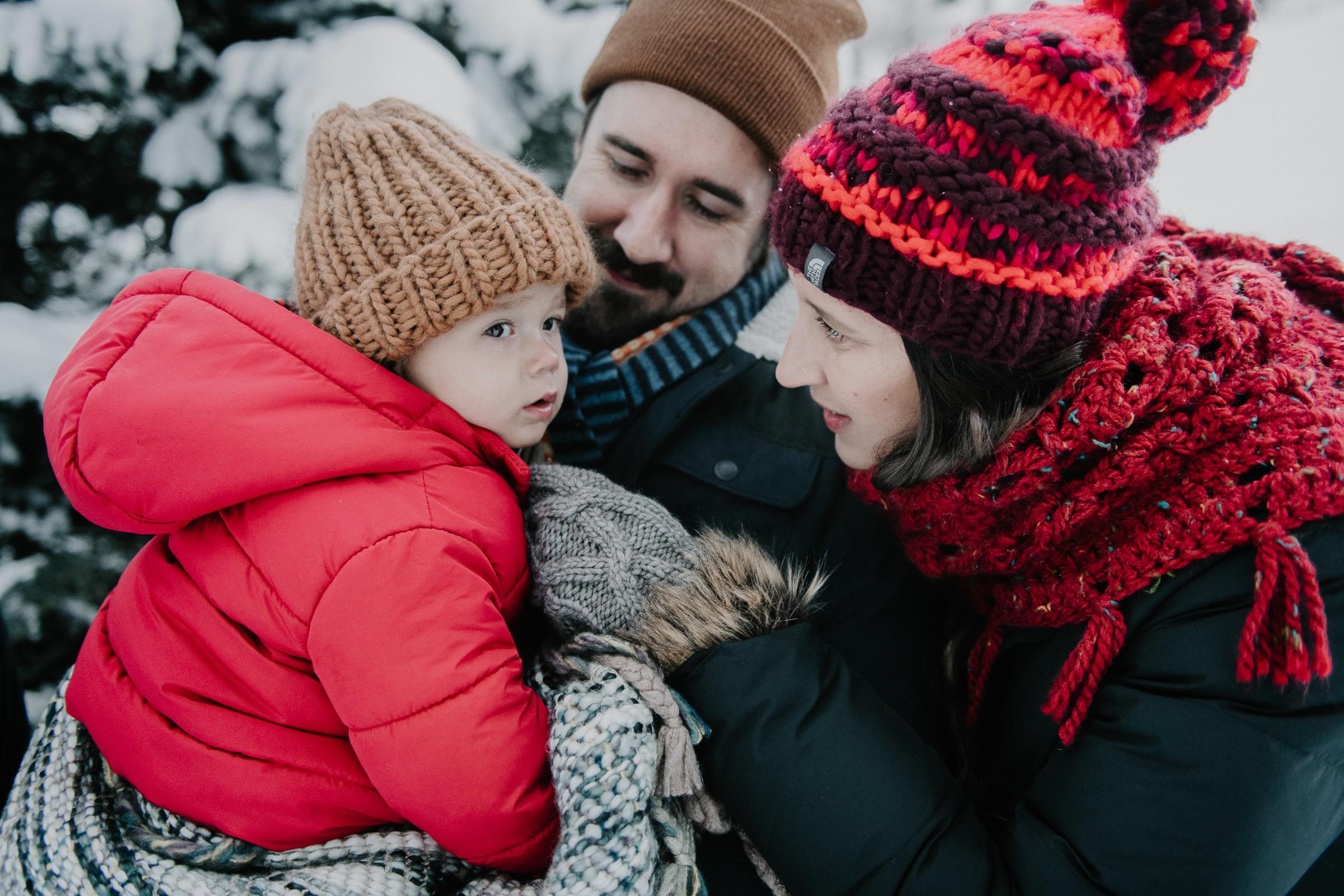 Family photo in snowy mountain