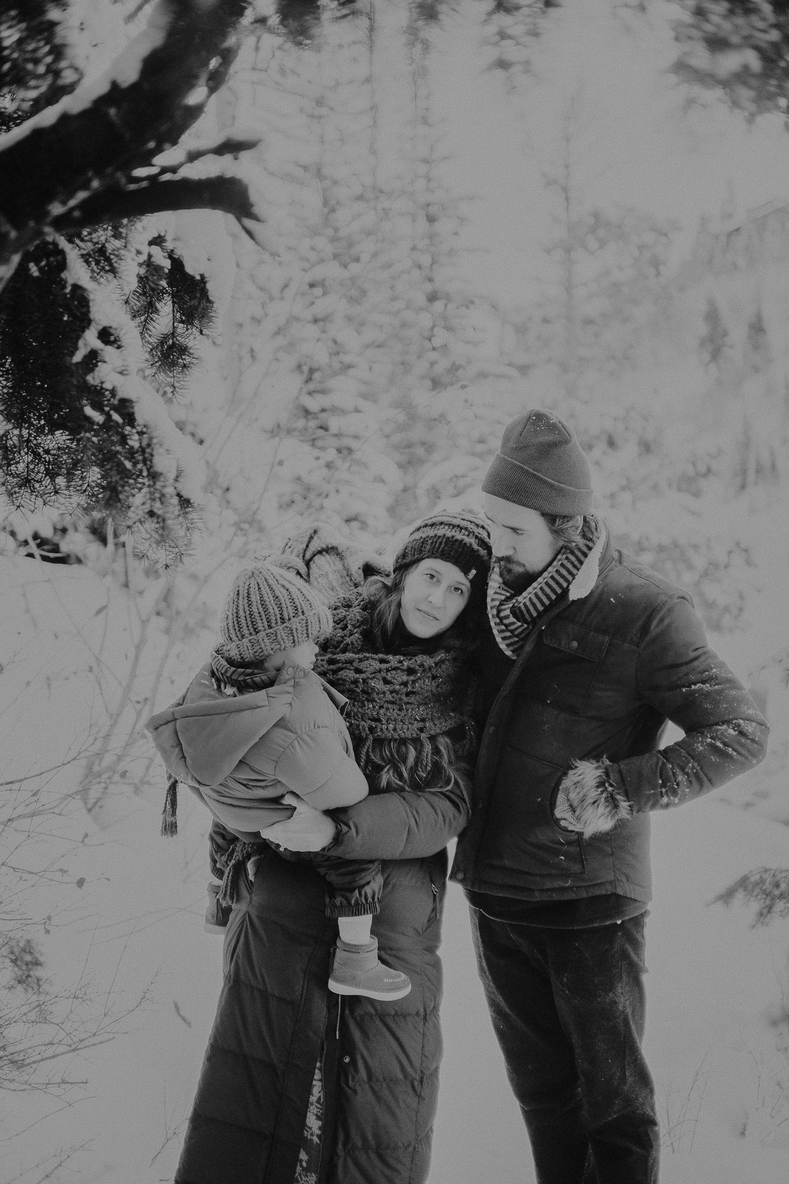 Family picture in snowy mountains
