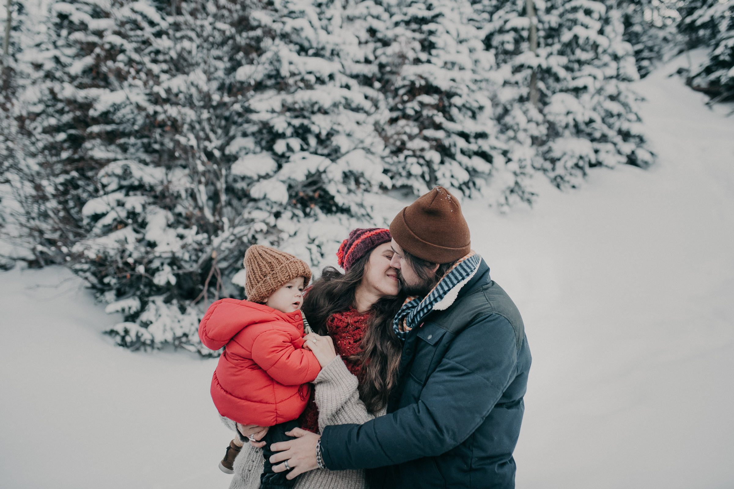Family picture in snowy mountain