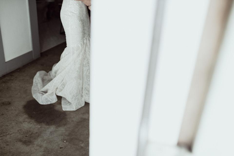 motion blur of bridal gown train