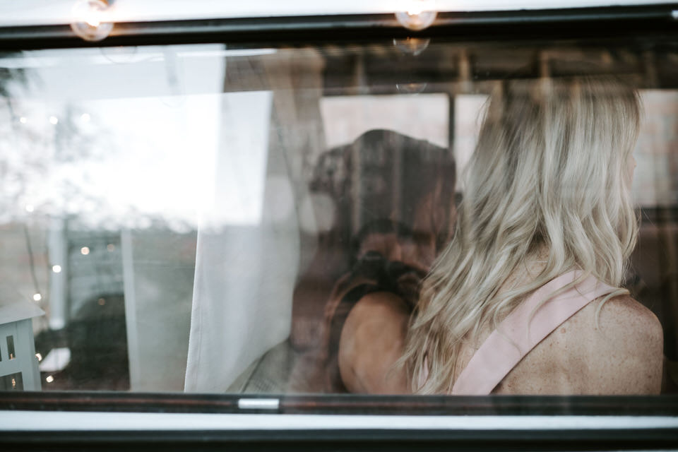 guests in photo booth van