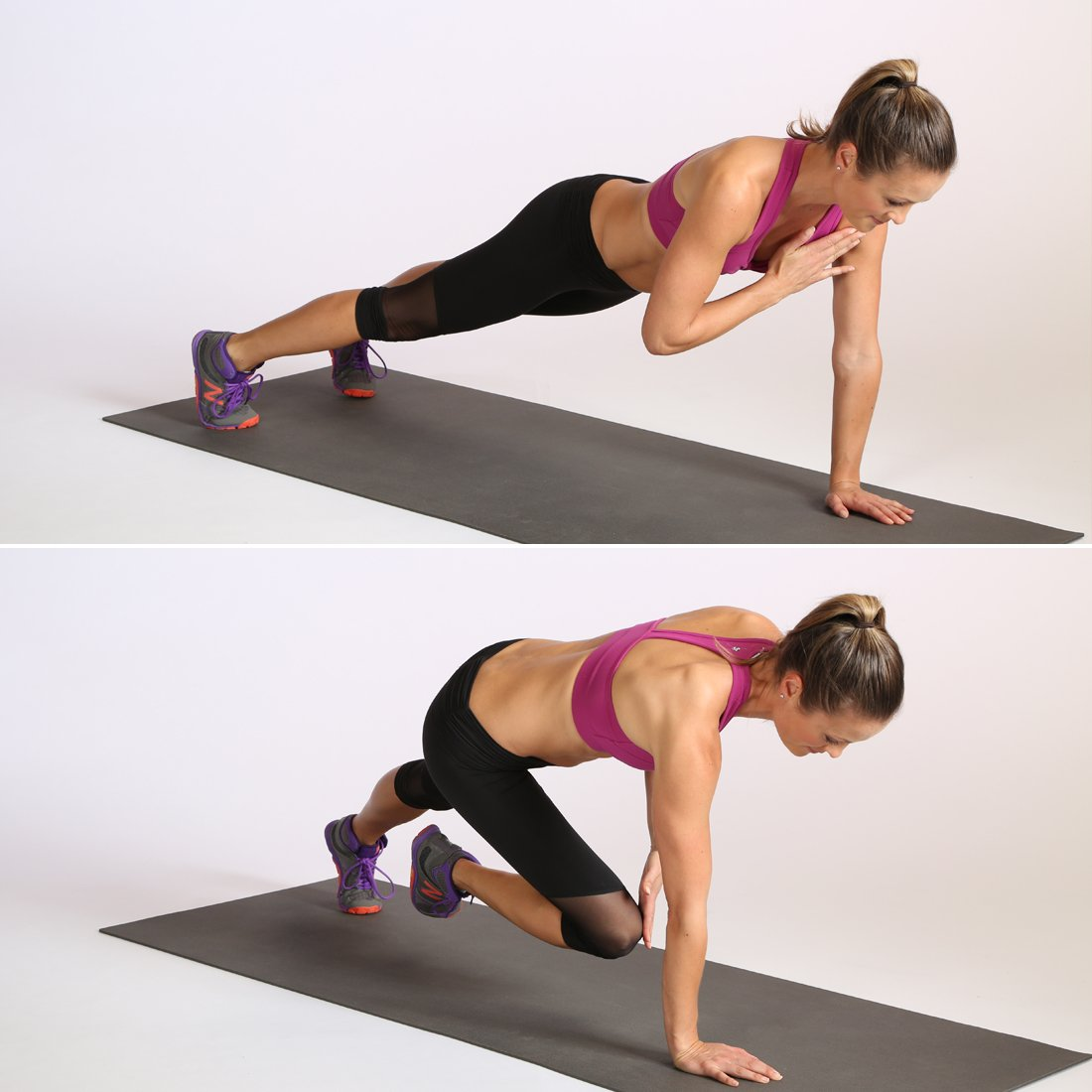 PLANK WITH SHOULDER AND KNEE TAP