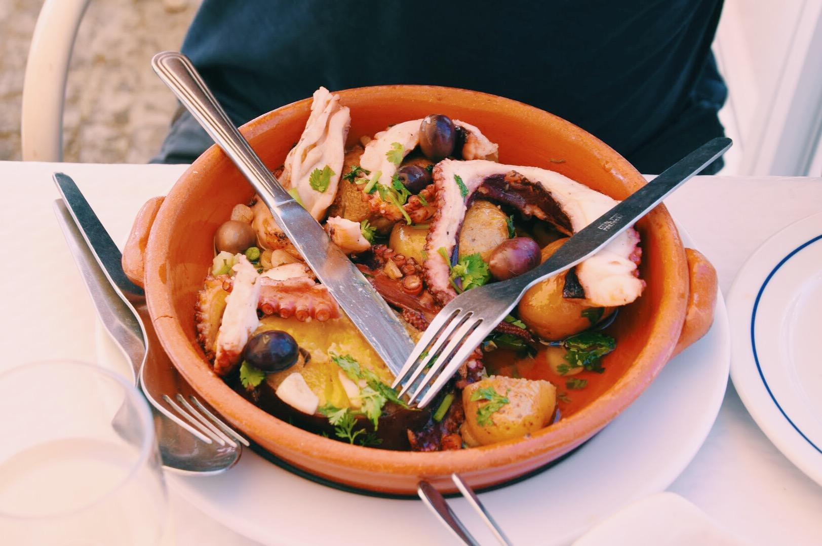 Polvo 'O Pescador'  - Octopus with herbs and potatoes at Restaurant O Pescador
