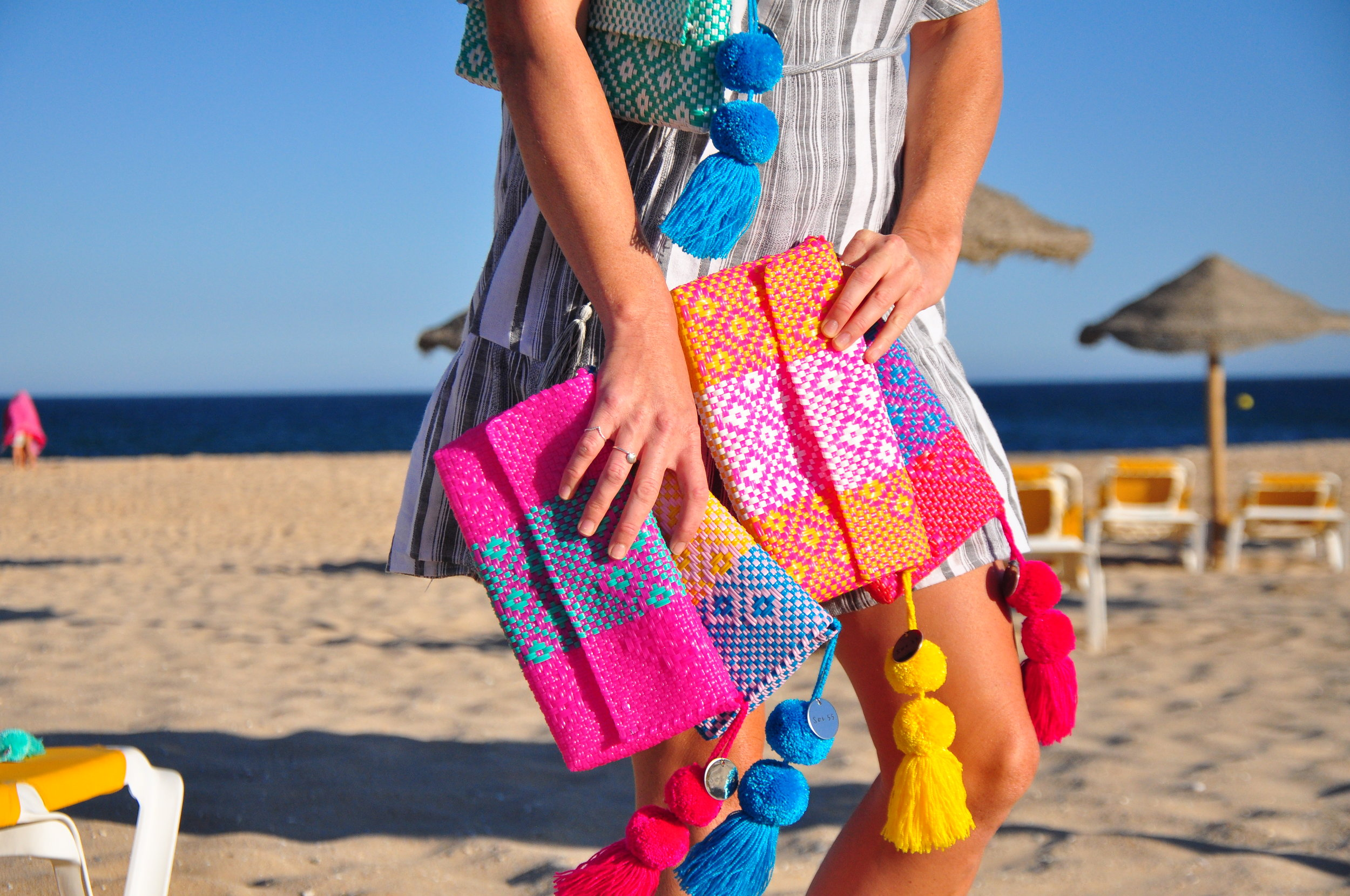 Colourful recycled plastic pouches