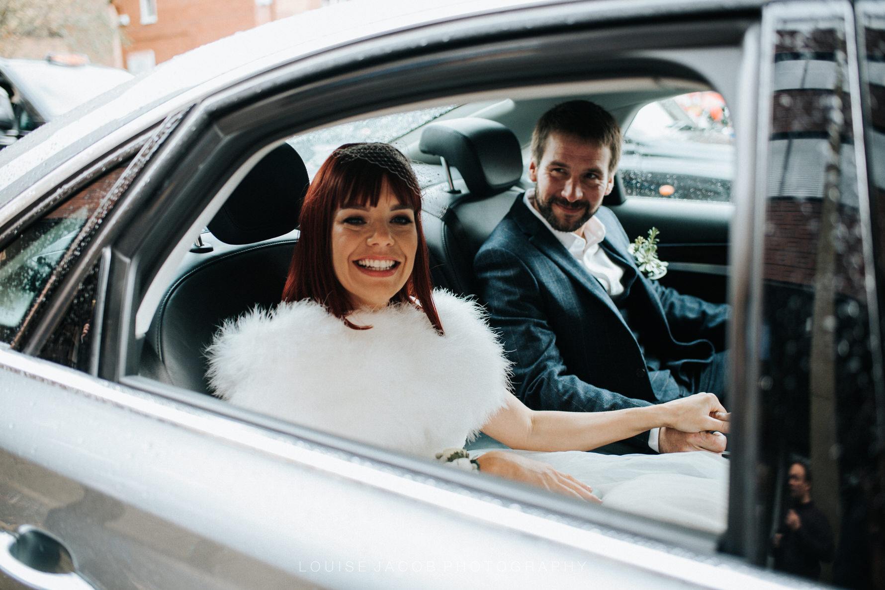 Documentary Wedding Photography bride and groom in wedding car