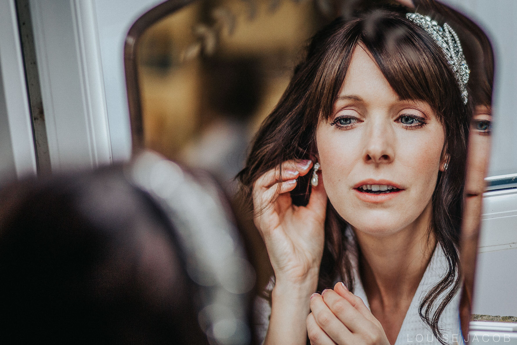 Documentary Wedding Photography bride reflection in the mirror