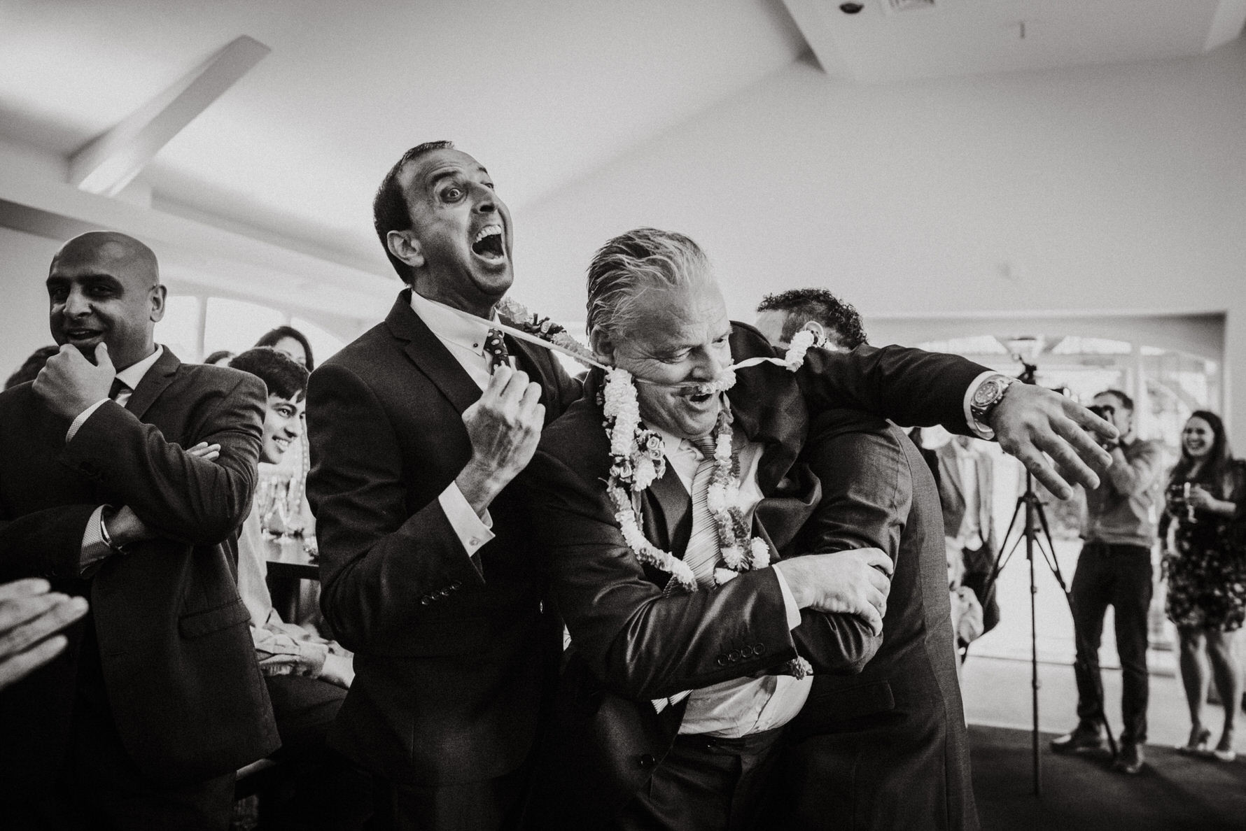Documentary Wedding Photographer Louise Jacob captures a fun moment at Colshaw Hall