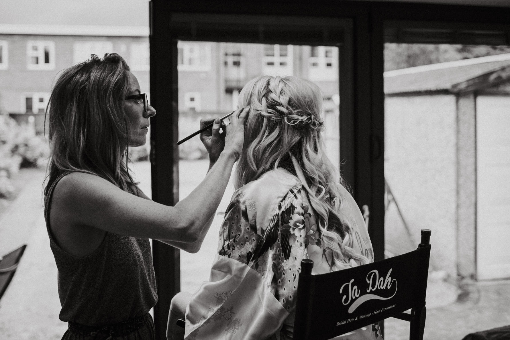 Cheshire Wedding Photojournalism - Bride having her make up done for her wedding