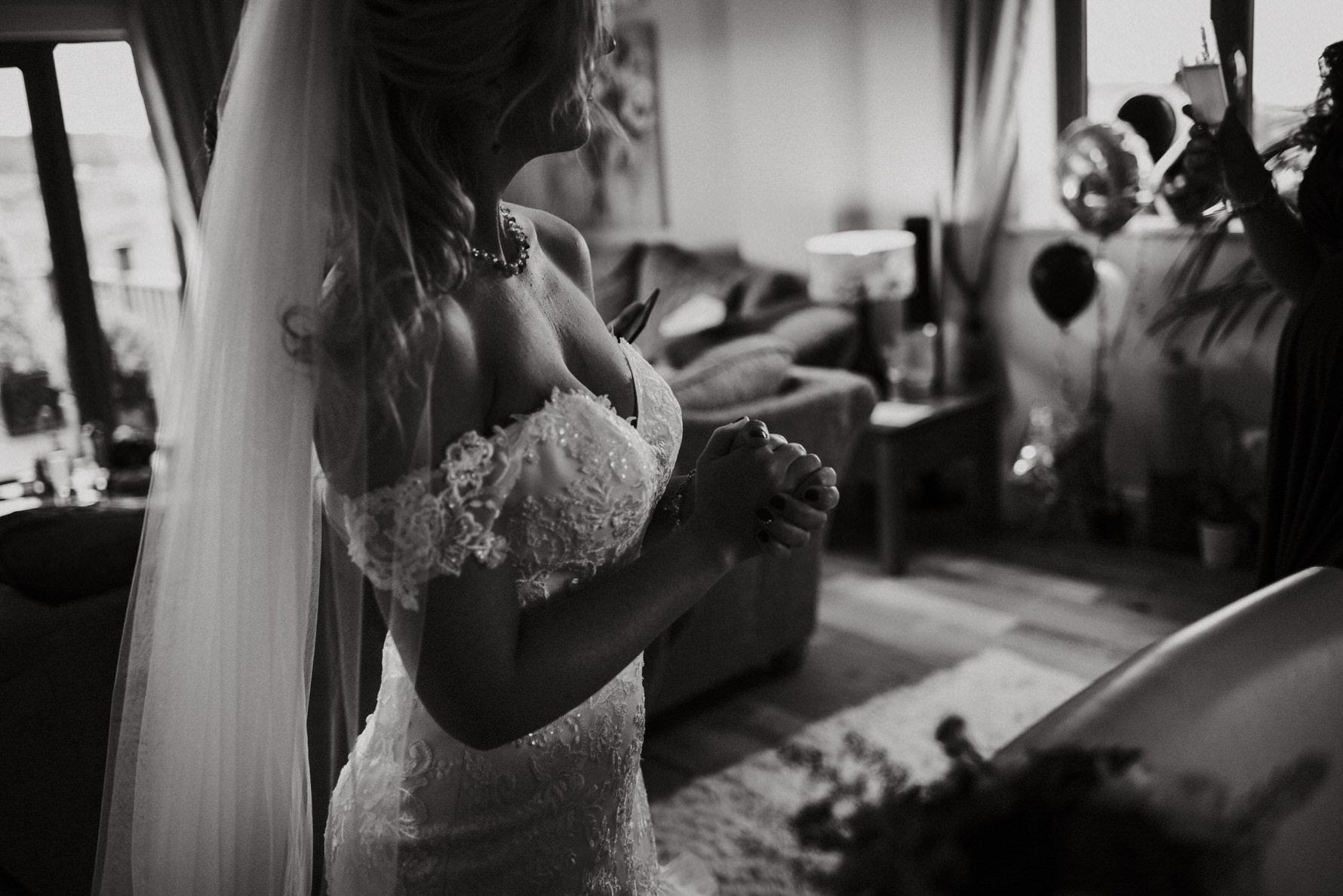 Cheshire Wedding Photojournalism  - A bride in her wedding dress