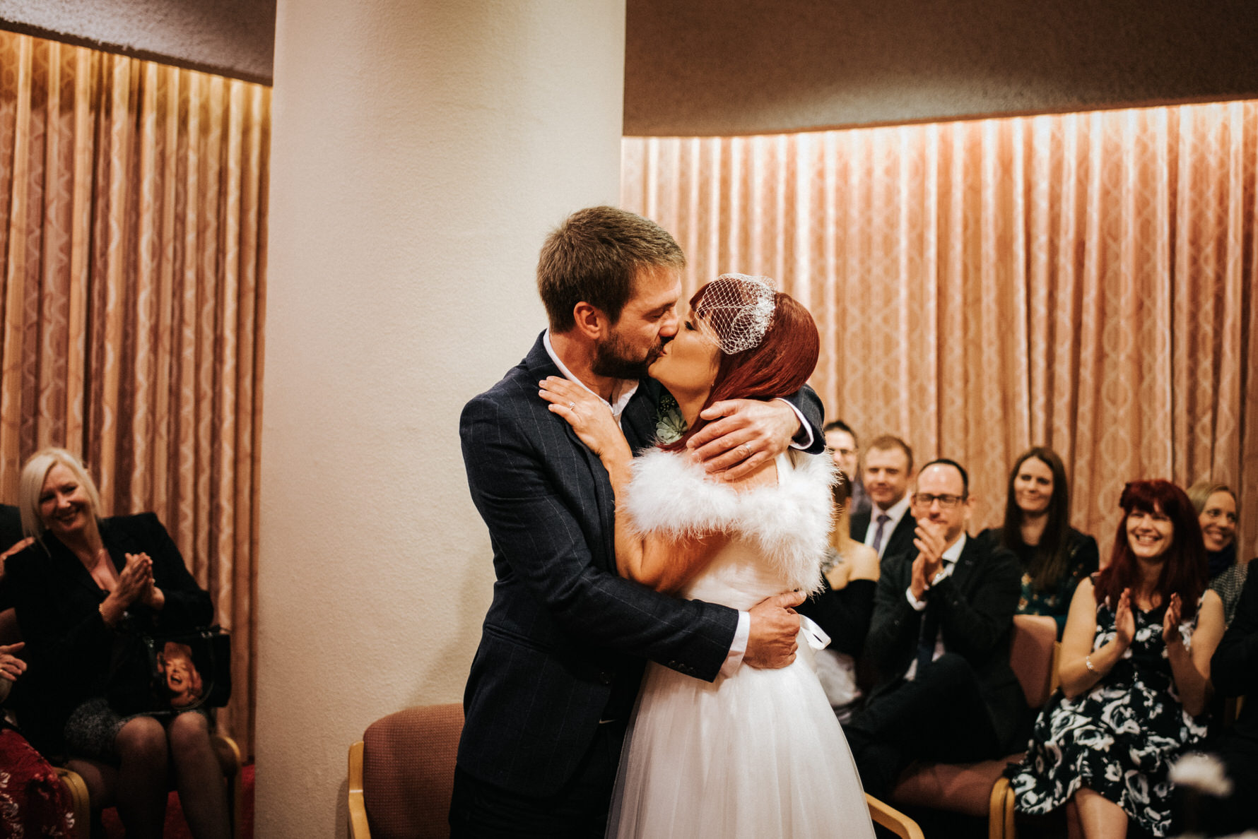 Cheshire Wedding Photojournalism - A bride and grooms first kiss