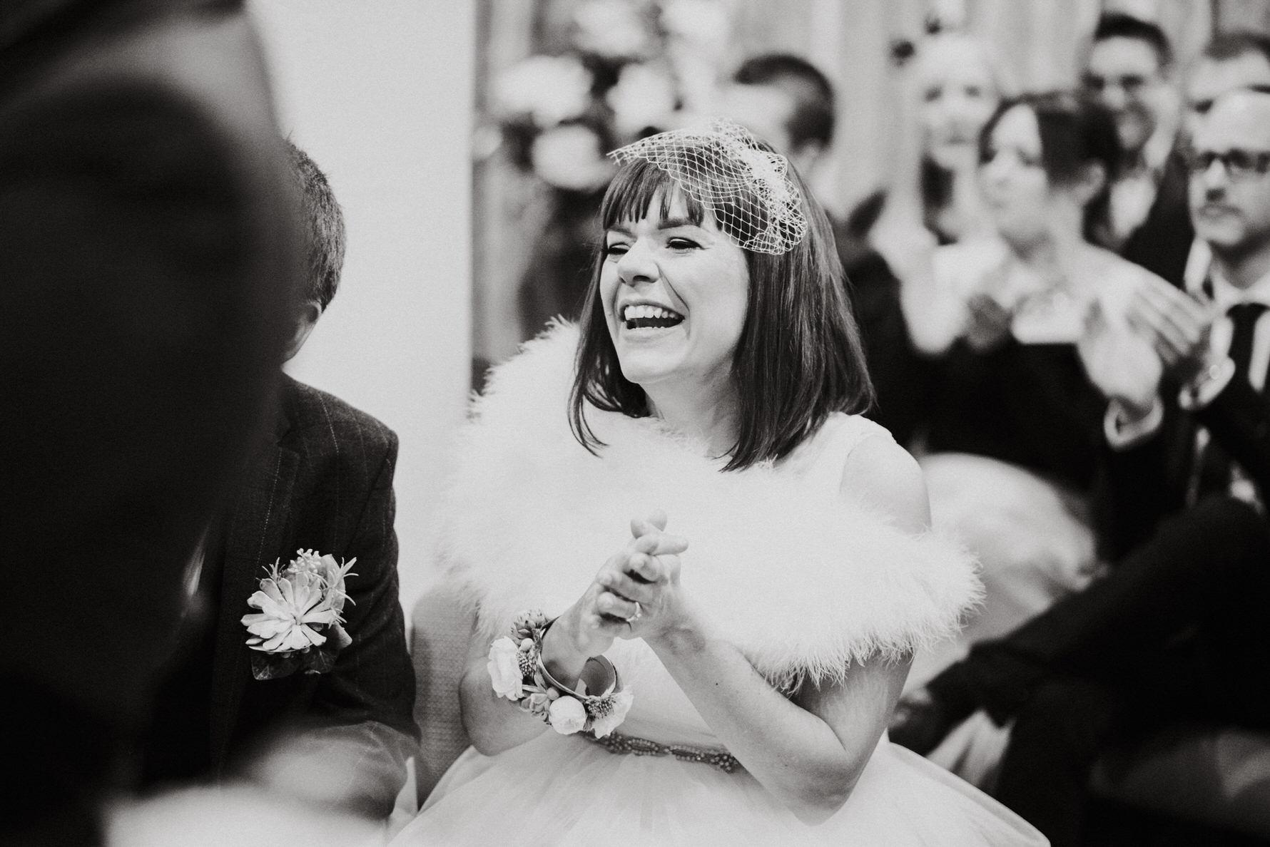 Cheshire Wedding Photojournalism - bride laughing