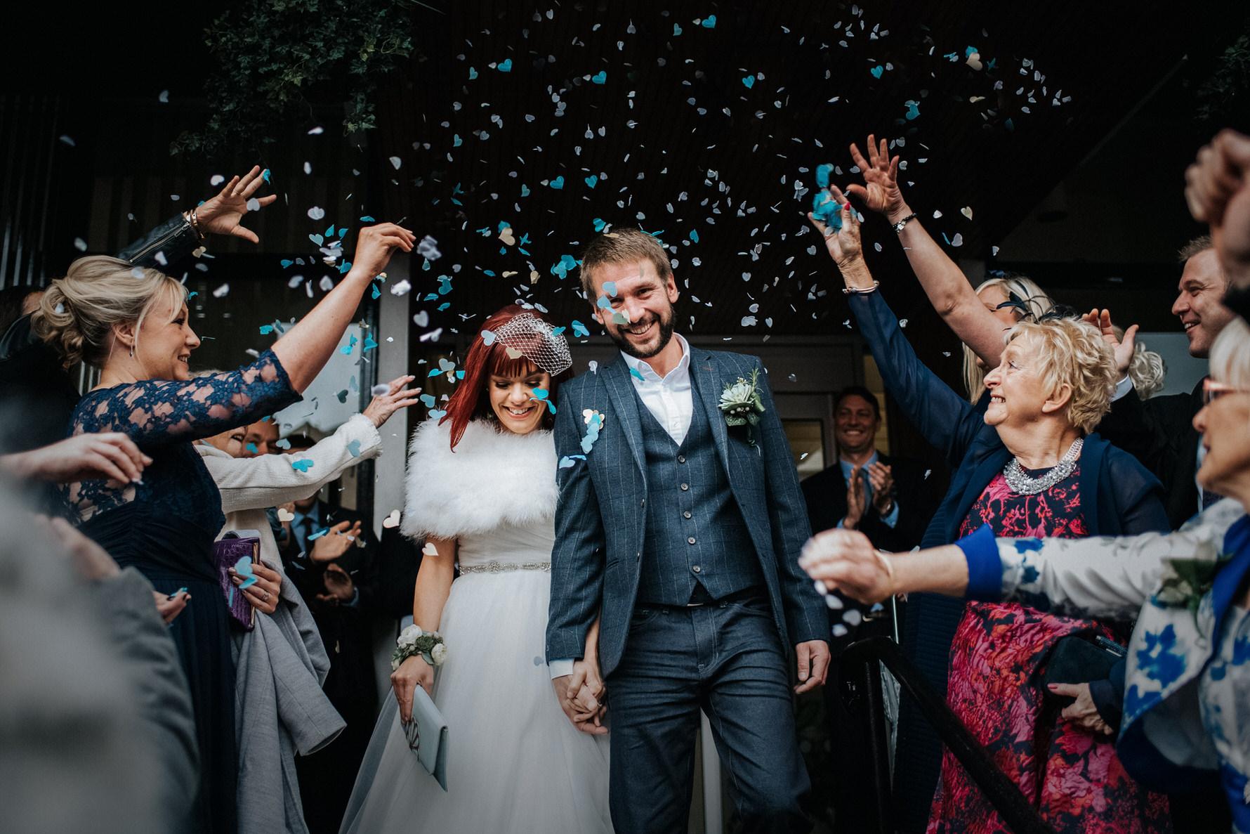 Cheshire Wedding Photojournalism - the confetti shot