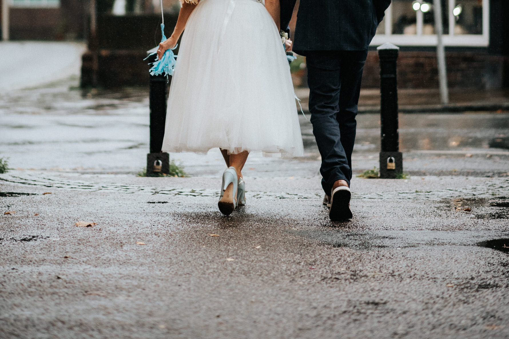 Cheshire Wedding Photojournalism - Bride and groom walking away