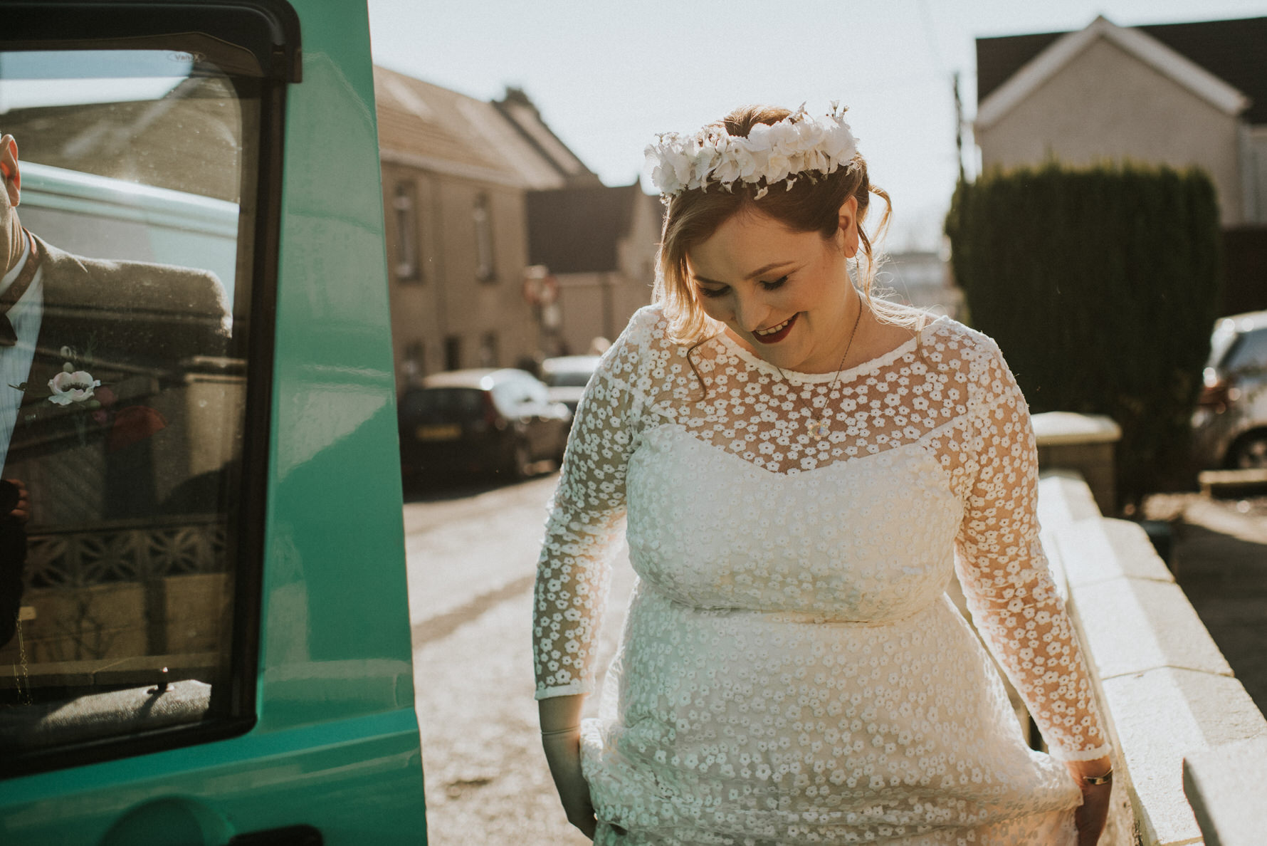 Wedding Photojournalism - Bride arriving at the chapel