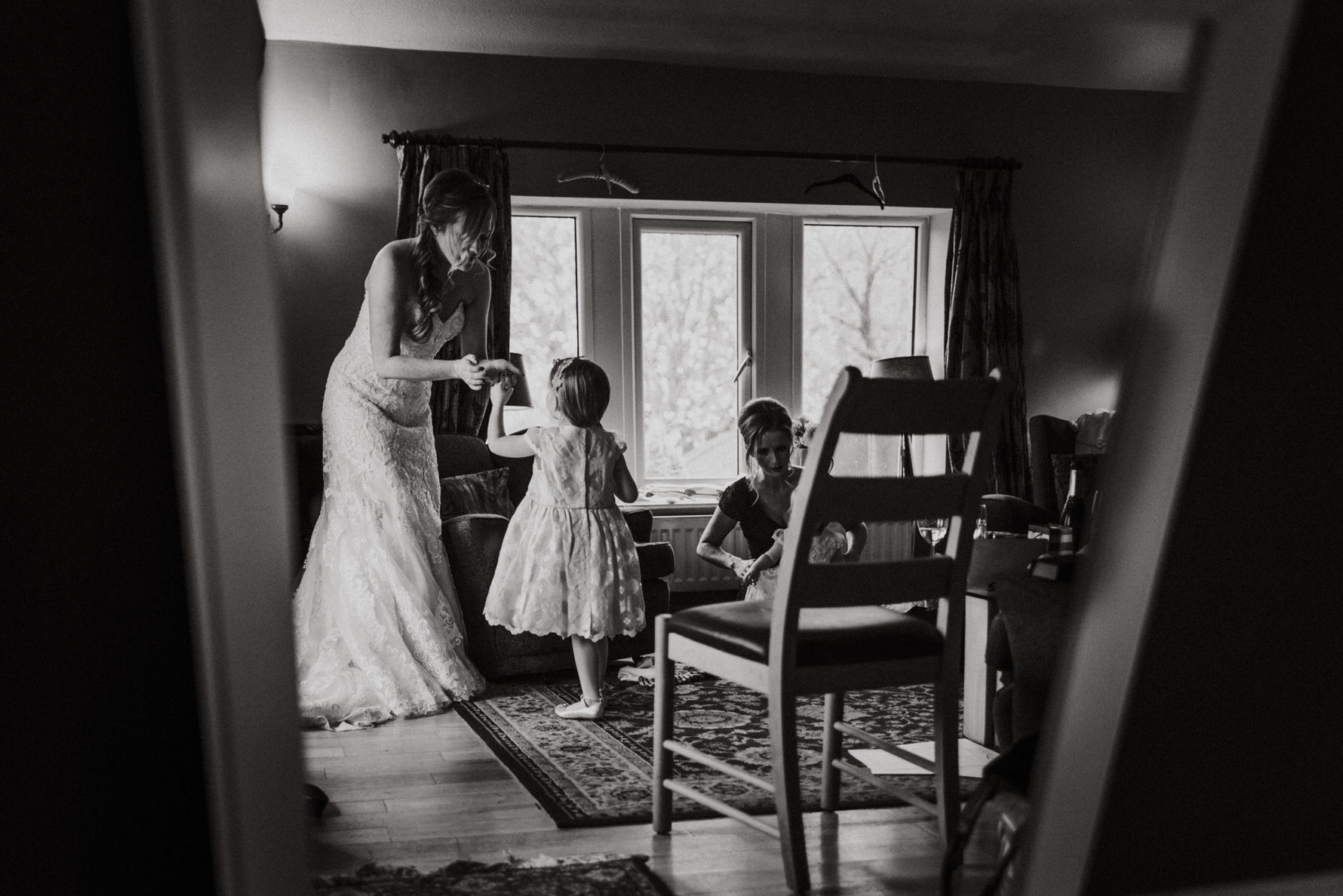documentary-wedding-photography-bride-and-flowergirl-red-lion-and-manor-burnsall