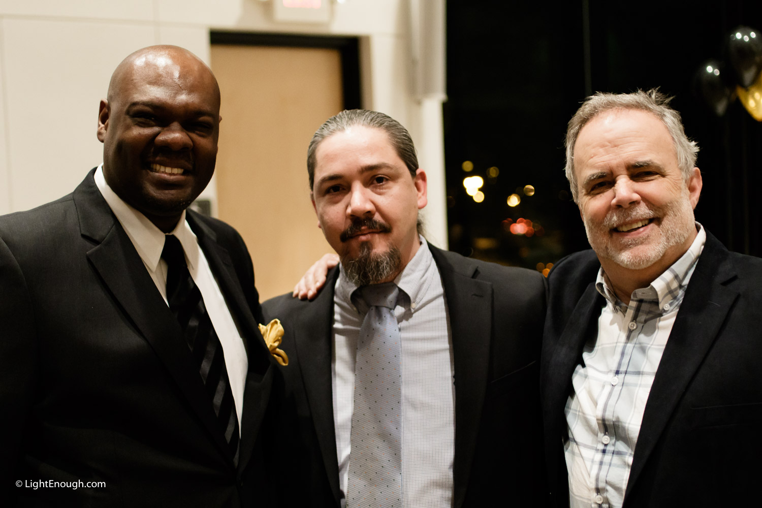 L-R: Sam Kelley, Executive Director, Will Torres and Mark Riley, Micros-Business Specialist at Bridges to independence Gala (March, 2016)