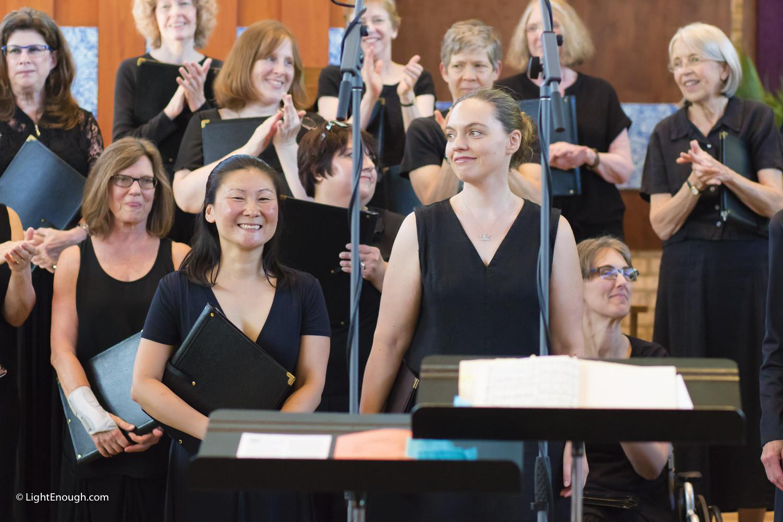 Front Row, Center Left: Devon Staren, Center Right: Katie Lynn Peebles Soprano Soloists at UUCA Choir Spring Concert (June 12, 2016)