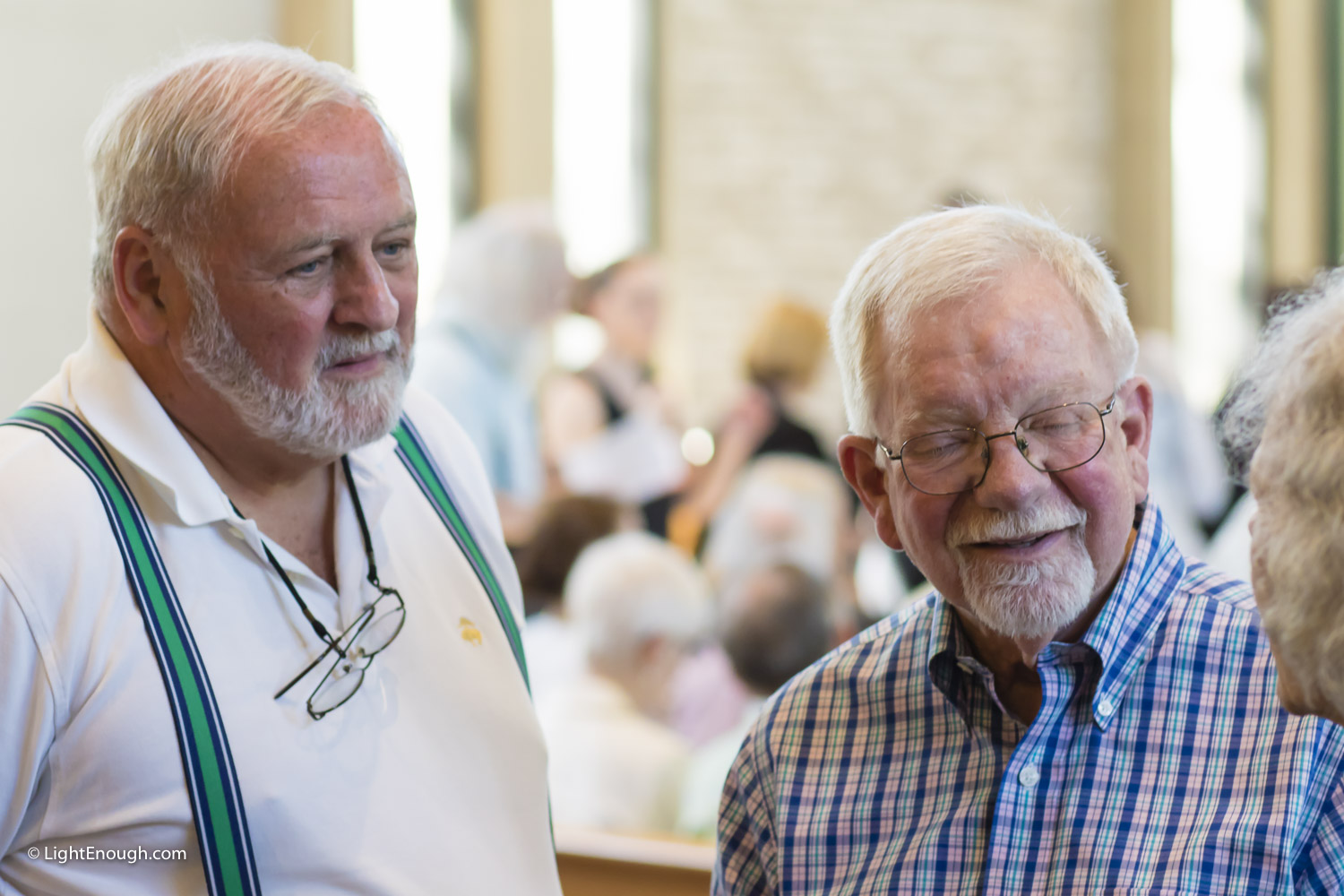Two men at the post-concert reception for the UUCA Choir Spring Concert (June 12, 2016)