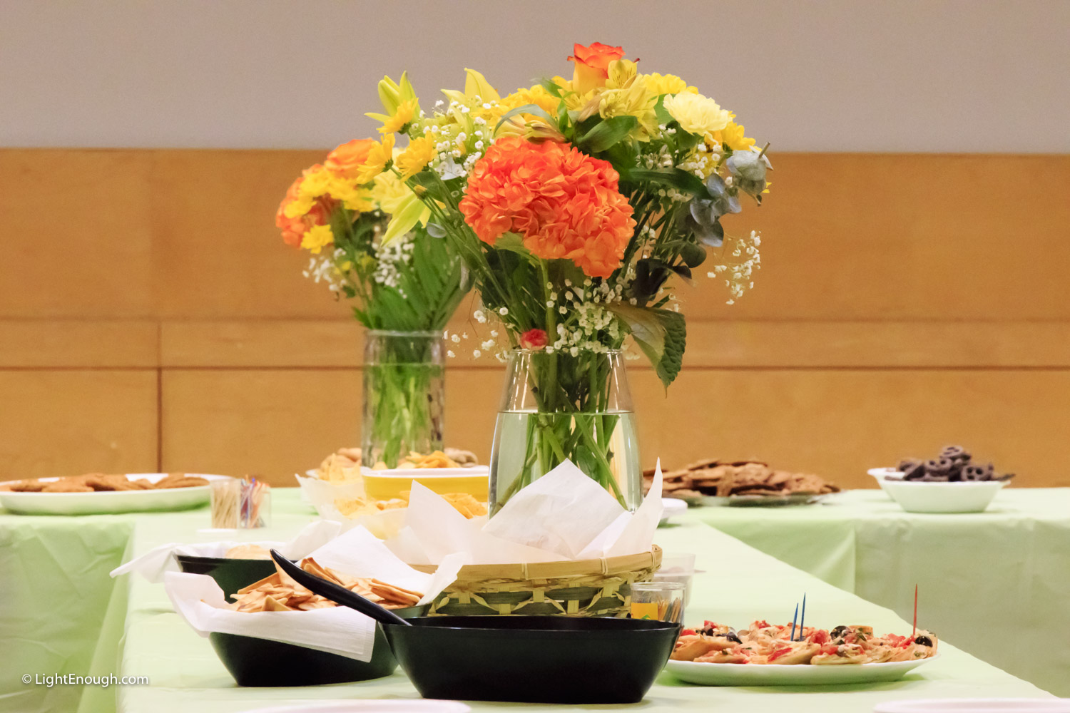 A beautiful table setting with vase of flowers waiting for the post-concert reception. UUCA Spring Choir Concert (June 12, 2016)