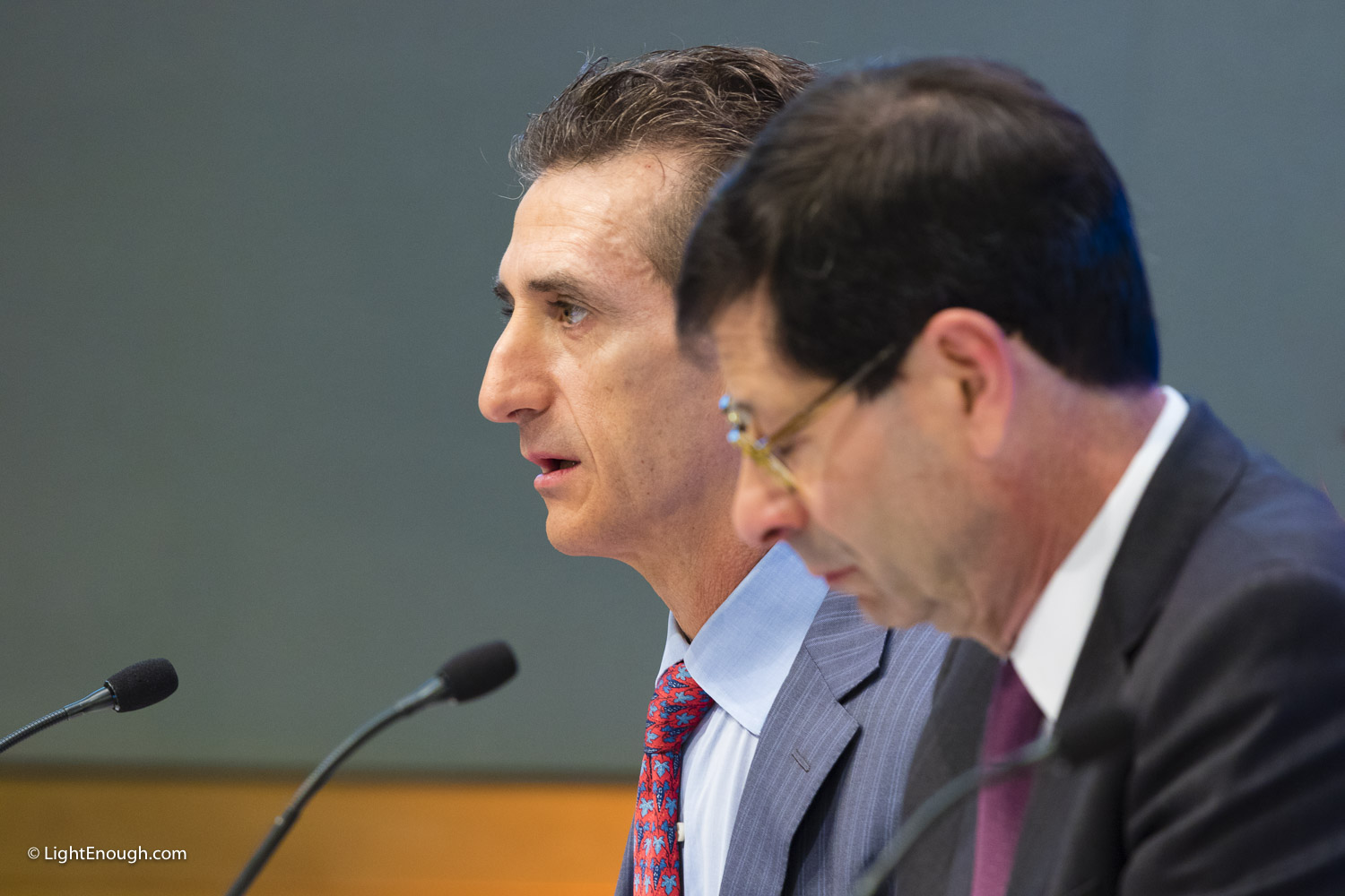 L-R: IMF Deputy Director Gian Maria Milesi-Ferretti, and Economic Counsellor Maurice Obstfeld at the World Economic Outlook Press Conference at IMF headquarters in  Washington, DC on October 4, 2016. Photo by John St Hilaire / LightEnough.com