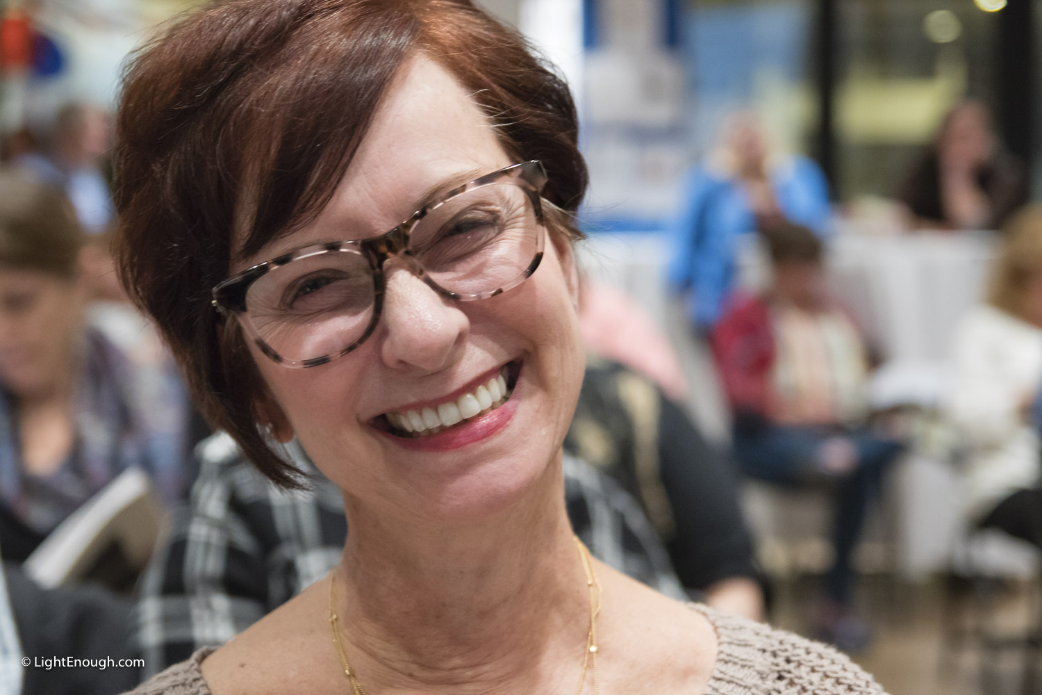 Pat Bodnar, All happy smiles at the UUCA Auction November 5, 2016. Photo by John St Hilaire / www.lightenough.com