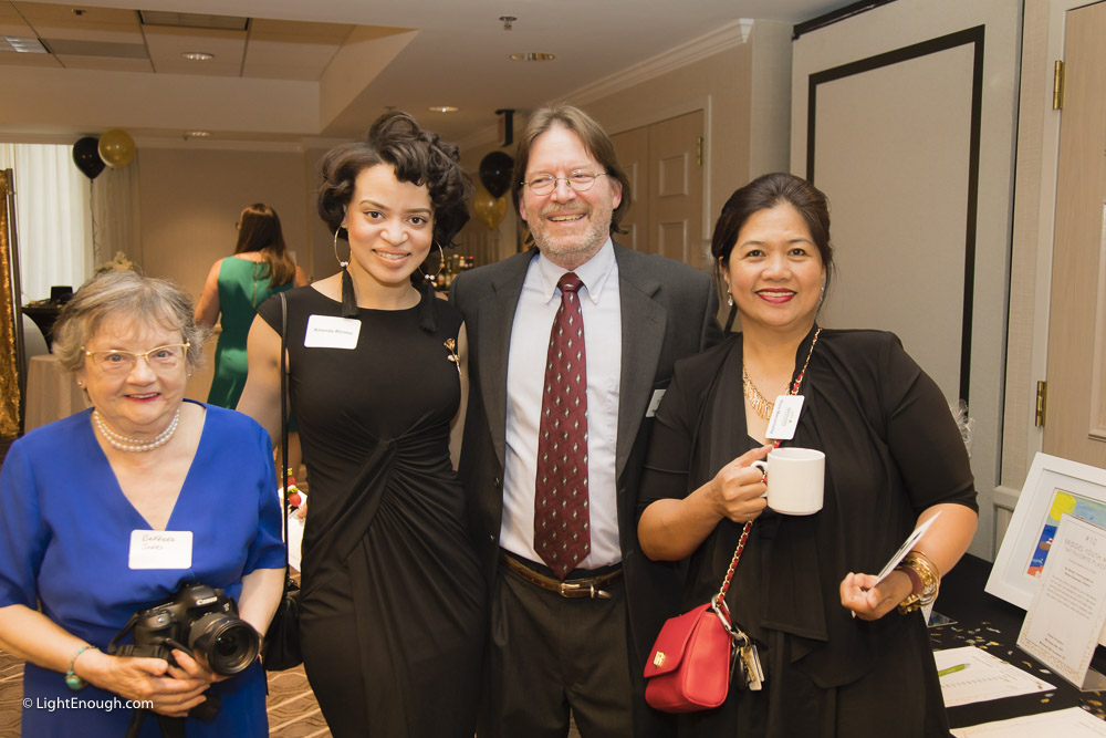 L-R: Barbara, Amanda Moreau, B2I Intake Coordinator Mark Moreau and Alexandria Intake Manager Gina Macanlalay at the Bridges to Independence Black & Gold Gala May 19, 2017. Photos by John St Hilaire of LightEnough.com