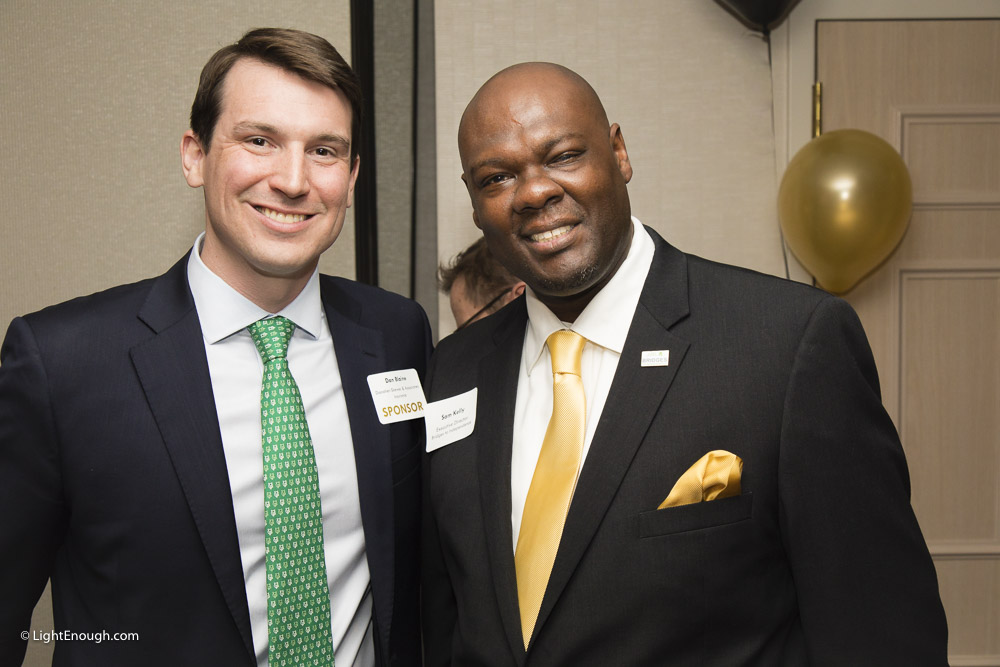 B2I Sponsor Dan Blaine poses with Executive Director Sam Kelly at the Bridges to Independence Black & Gold Gala May 19, 2017. Photos by John St Hilaire of LightEnough.com