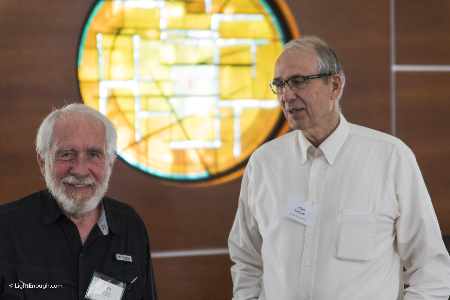 Kit Britton and Allan Kellum at the June 2017 meeting of the UUCA Day Alliance. Allen Keiswetter speaker. Photos by John St Hilaire / LightEnough.com