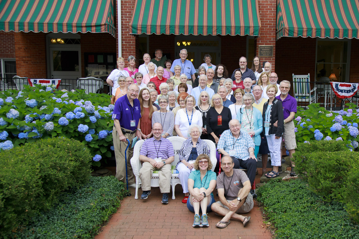 Group portrait of Chautauquans at Presbyterian House, Week 4, 2017 at the Chautauqua Institution. We were all friends and colleagues, dining together and having wonderful conversations.