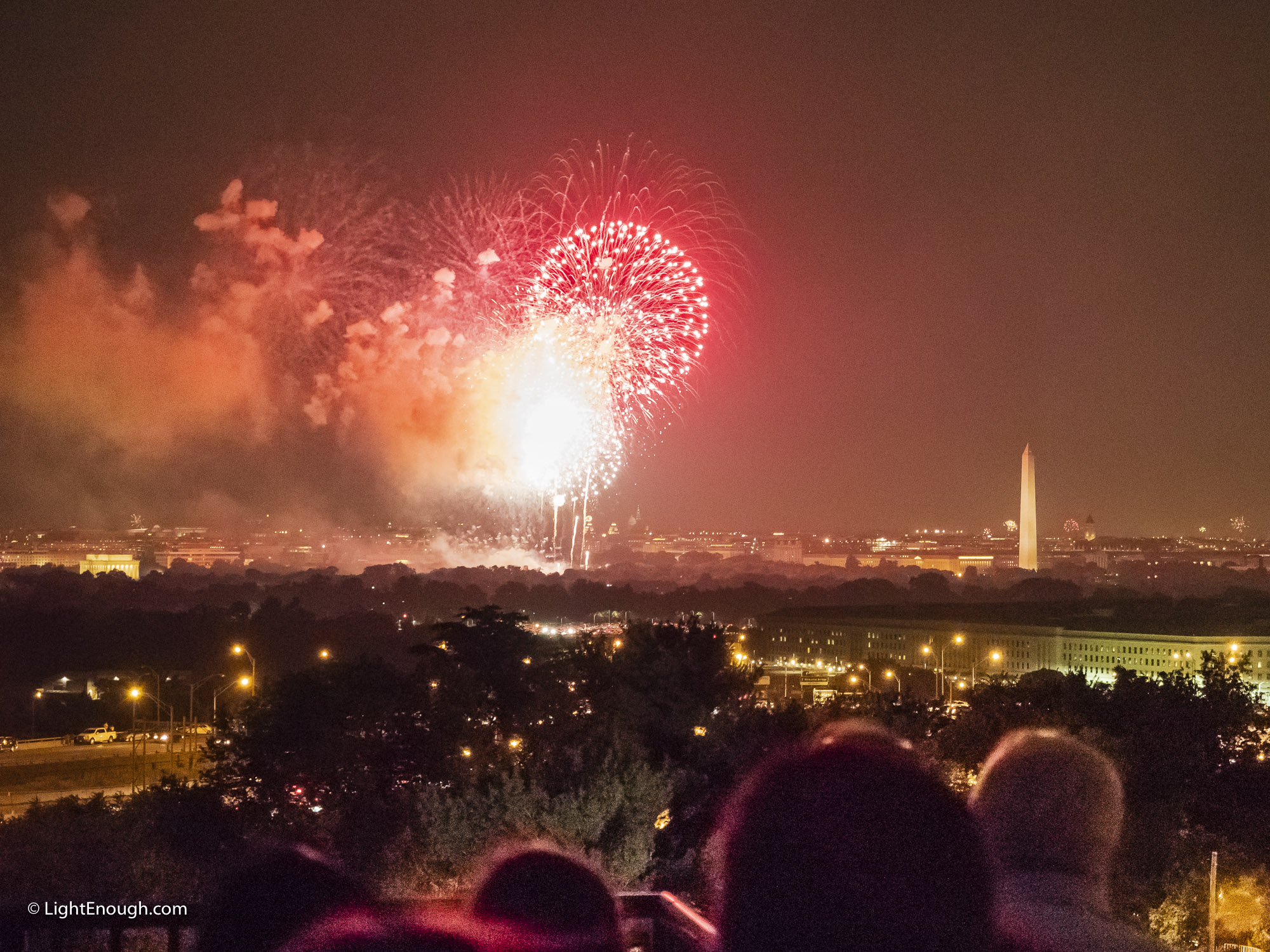 Fireworks at the Washington Monument.