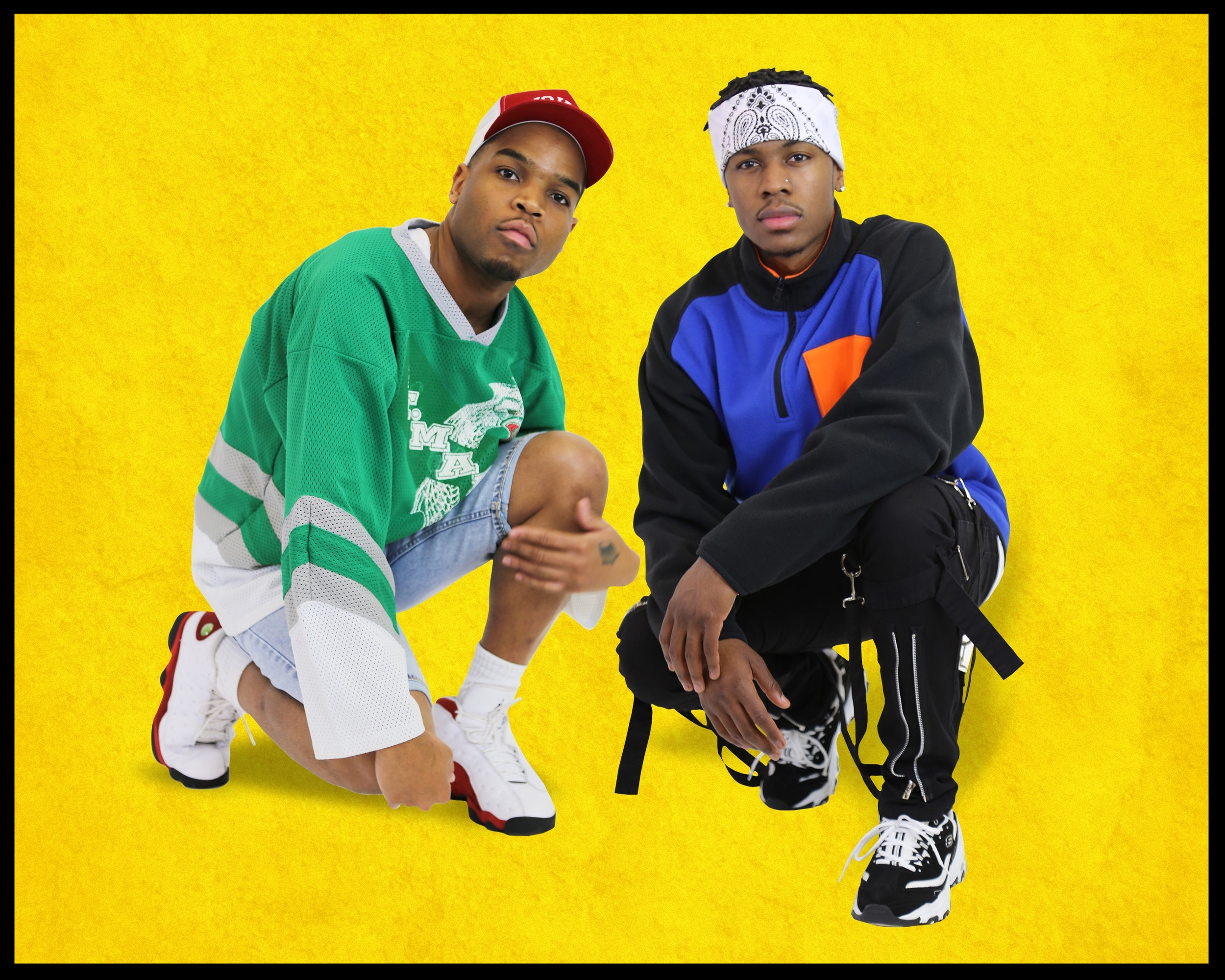 JGE Retro is a buzzing music group on the rise in St. Louis, Missouri. This is a photo of two recording artist who make up the group. From left to right: Shad and Lil' Shawn.
