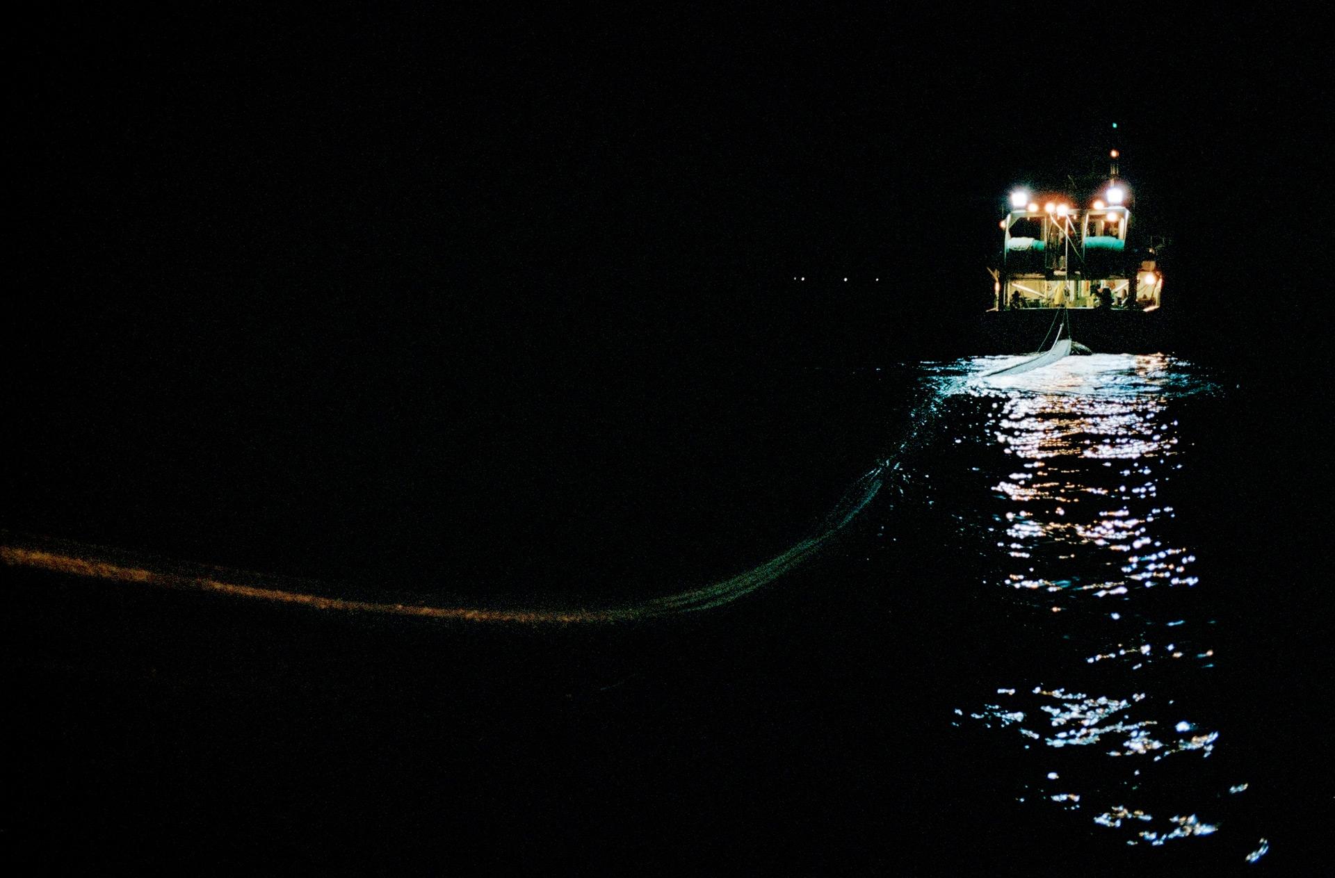 """Campagne de pêche à bord du  Magayant , chalutier pélagique rattaché au port de La Turballe, dans le département de la Loire Atlantique, France. 2013           Normal.dotm   0   0   1   18   104   ecranomade   1   1   127   12.0                      0   false     21     18 pt   18 pt   0   0     false   false   false                                       /* Style Definitions */ table.MsoNormalTable {mso-style-name:""""Tableau Normal""""; mso-tstyle-rowband-size:0; mso-tstyle-colband-size:0; mso-style-noshow:yes; mso-style-parent:""""""""; mso-padding-alt:0cm 5.4pt 0cm 5.4pt; mso-para-margin-top:0cm; mso-para-margin-right:0cm; mso-para-margin-bottom:10.0pt; mso-para-margin-left:0cm; mso-pagination:widow-orphan; font-size:12.0pt; font-family:""""Times New Roman""""; mso-ascii-font-family:Cambria; mso-ascii-theme-font:minor-latin; mso-fareast-font-family:""""Times New Roman""""; mso-fareast-theme-font:minor-fareast; mso-hansi-font-family:Cambria; mso-hansi-theme-font:minor-latin;}      Remontée du chalut,3h du matin. La marchandise remontée est répartie sur les deux embarcations à la suite d'une manœuvre afin que les deux équipages aient du poisson conditionné à son bord."""