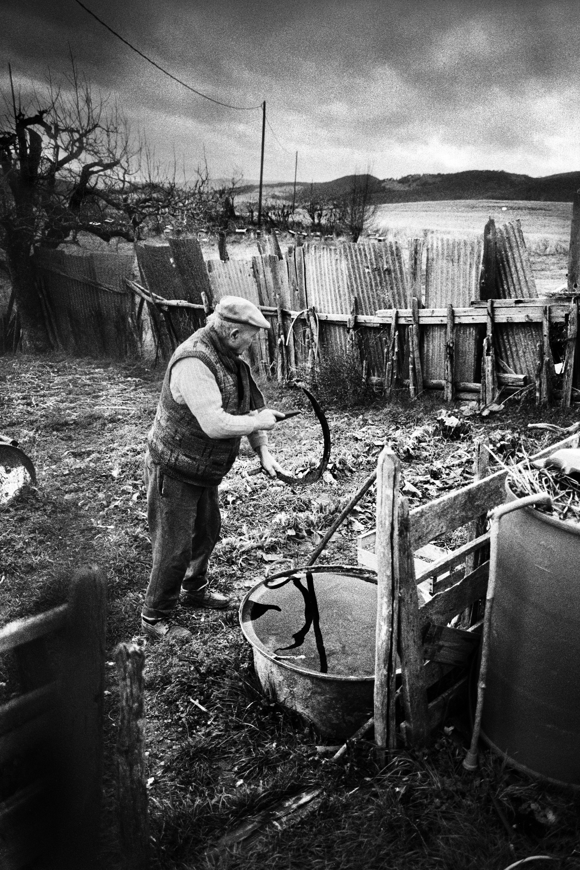 Gustave Tortel dans son jardin. Gustave était né à St Dizier, le village voisin. Cette ferme avait été achetée en 1955 et comptait au mieux une centaine de brebis. Sa passion ? Le miel. Il ne mettait jamais aucune protection particulière contre les abeilles. « J'ai jamais craint les piqûres. » Il a vécu les 15 dernières années de sa vie seul. Très peu de personnes venaient le voir, mais de temps à autre il prenait son tracteur pour venir voir les « vieux de Rossas.Il est aujourd'hui décédé.