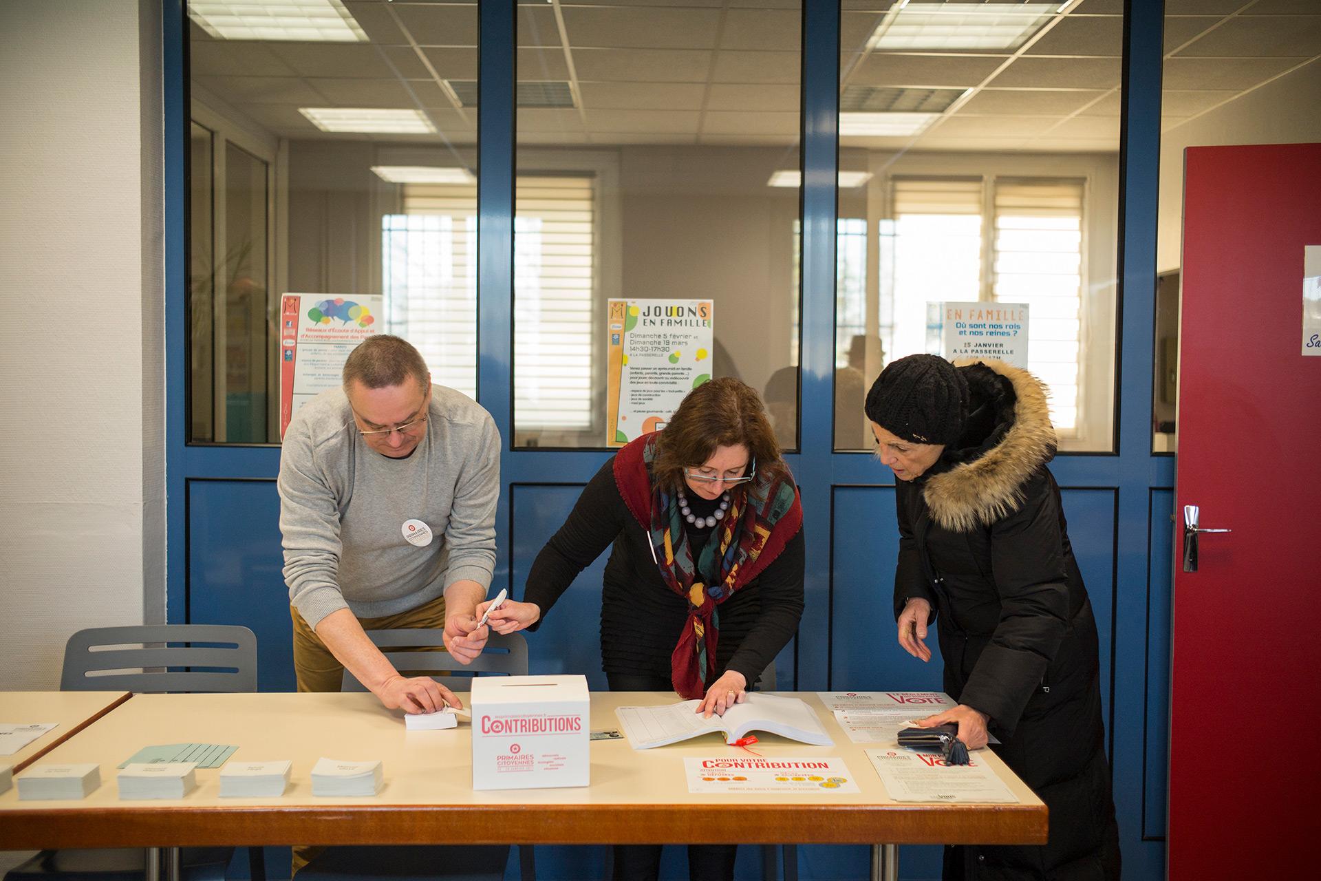 Bureau de vote de Florange, Primaire de la Gauche. Moselle, 22 janvier 2017.