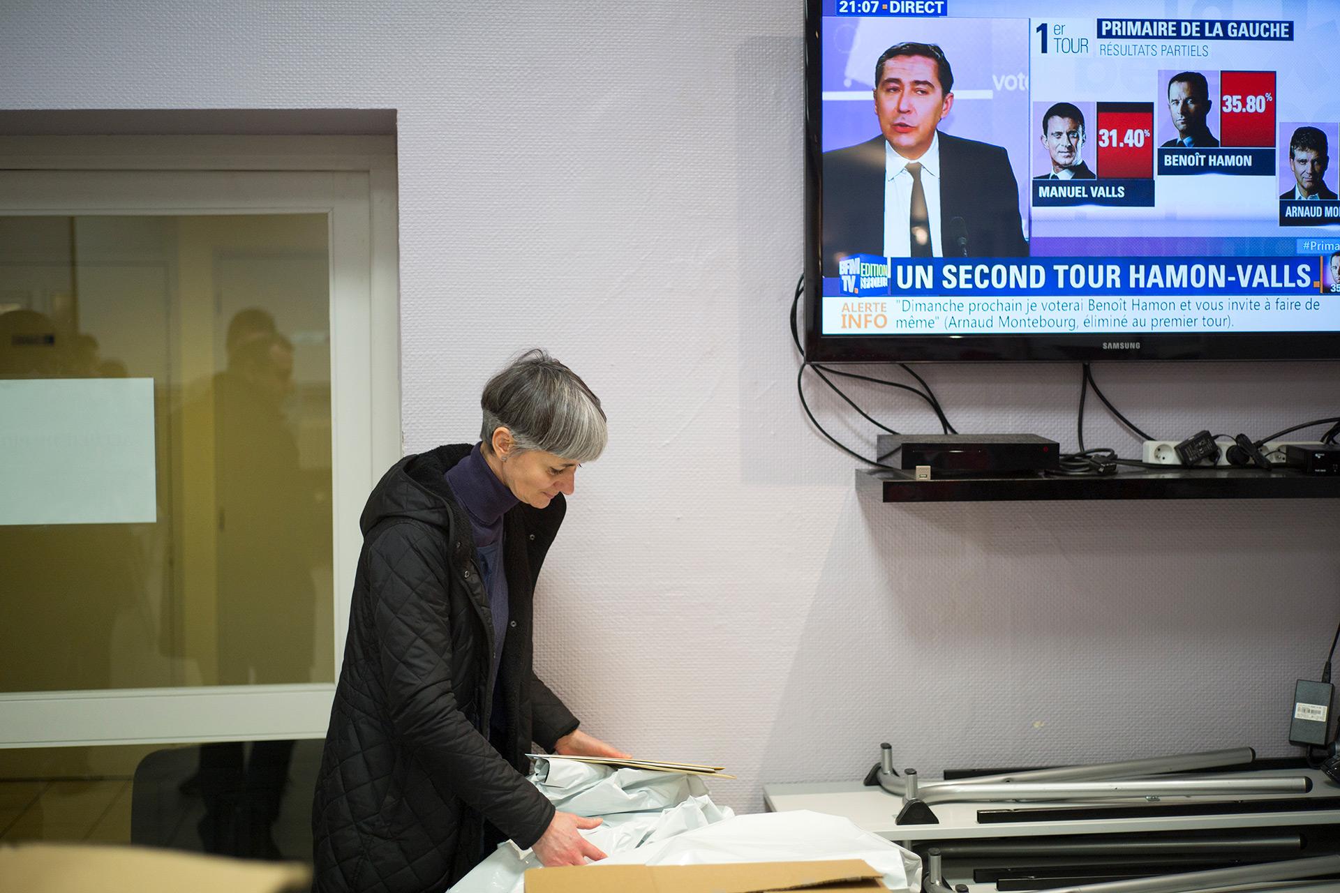 Militants socialistes lors de l'annonce des résultats du premier tour de la Primaire de la Gauche. Fédération de Moselle du PS, Maizières lès Metz. 22 janvier 2017