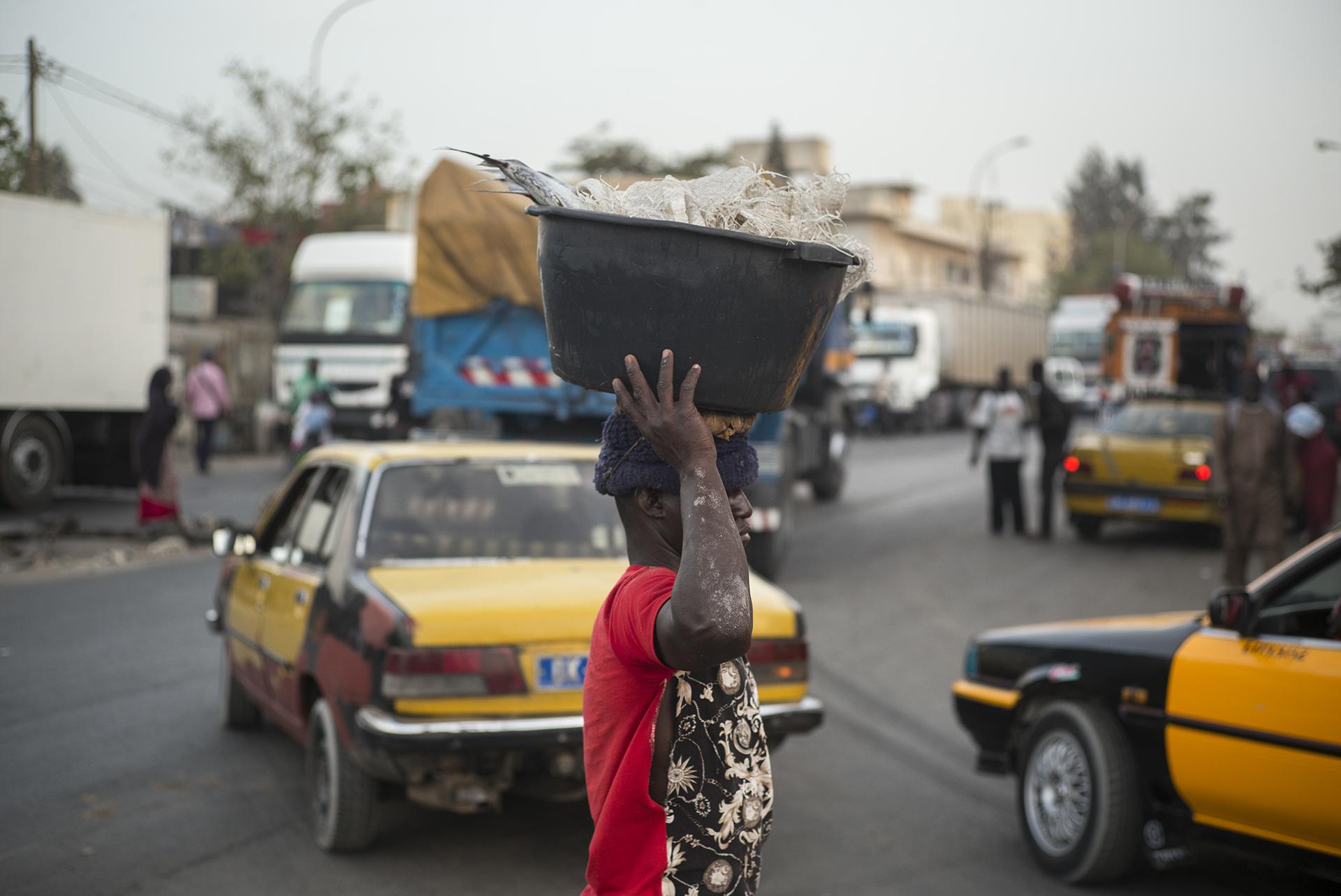 Circulation routière à Dakar, Sénégal. Mai 2017Quartier de Yarack à l'heure de pointe.