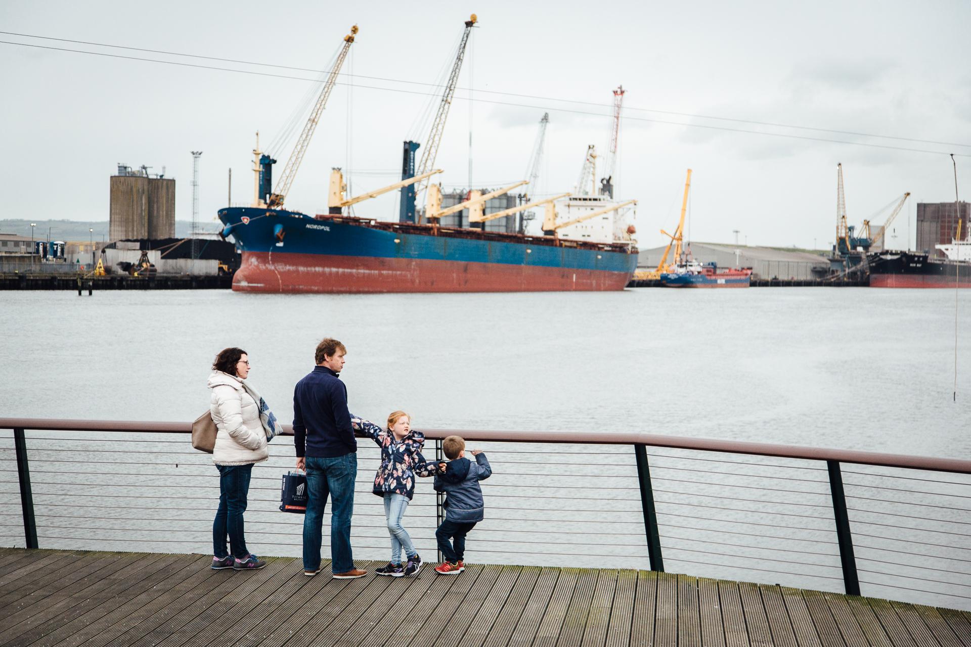 Belfast, le 24 Février 2017. Chantier naval sur lequel a été construit le Titanic. Le chantier erst aujourd'hui devenu l'une des attractions touristiques majeures de la ville.