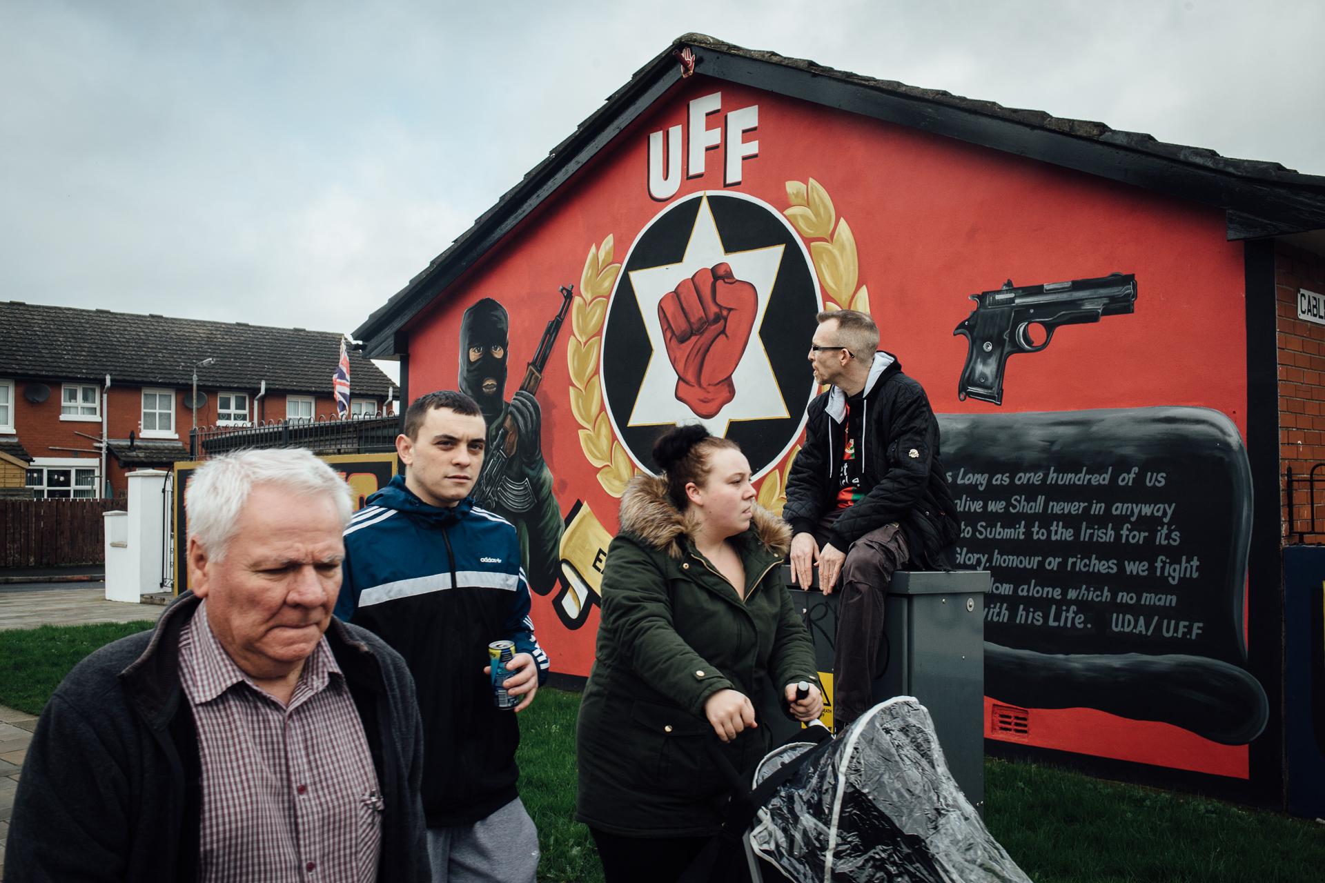 Belfast, le 25 février 2017. Dans le quartier de Belfast Est, principalement loyaliste et protestant. L'UFF est une milice paramilitaire loyaliste