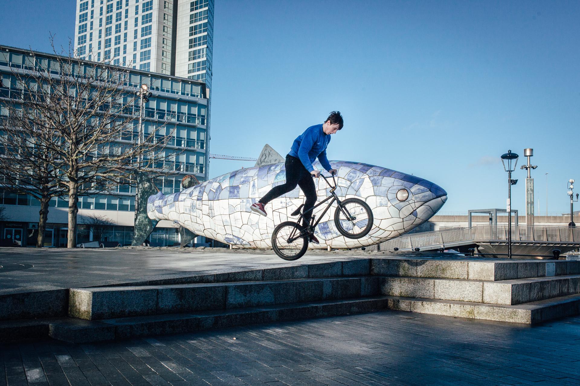 """Belfast, le 26 février 2017. """"The big fish : the salmon of knowledge"""", sculpture emblématique de la ville, réalisée par John Kindness en 1999."""