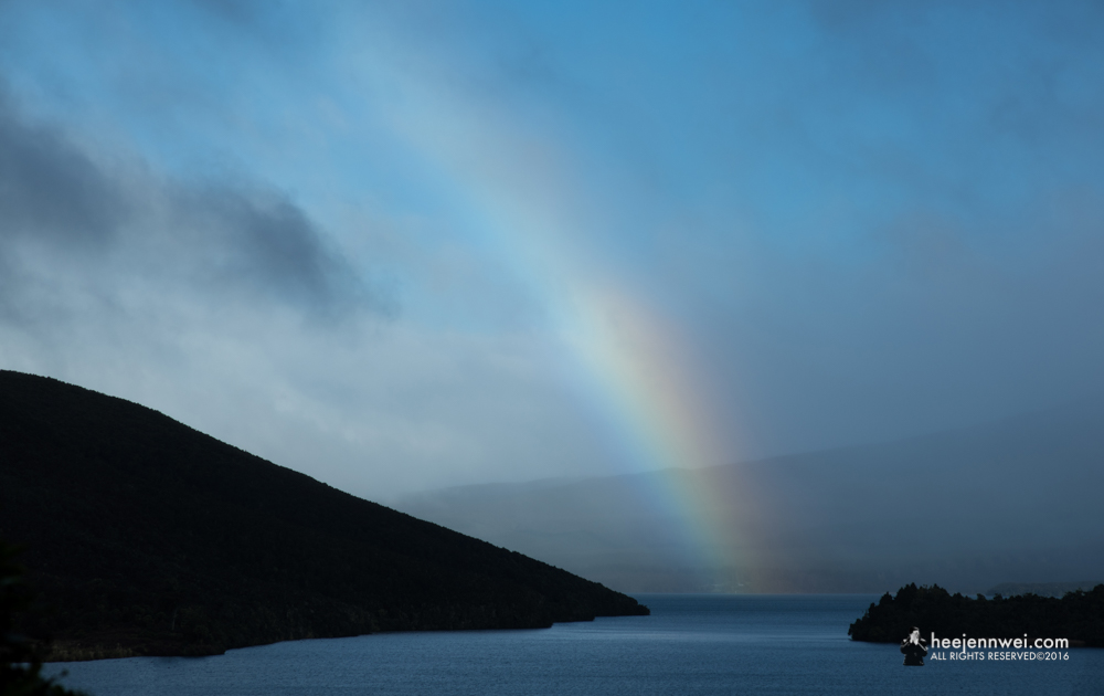 The end of Rainbow at the Lake Rotoaira.
