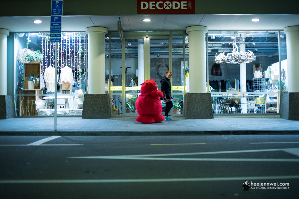 Be patience at street photography, find the right frame. Cookie Monster strolling along the Camp Street!
