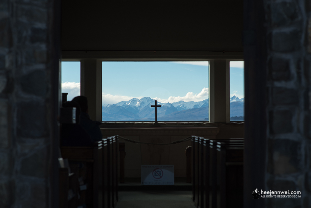 The view of the mountain through the panes of the Church of Good Shepherd.