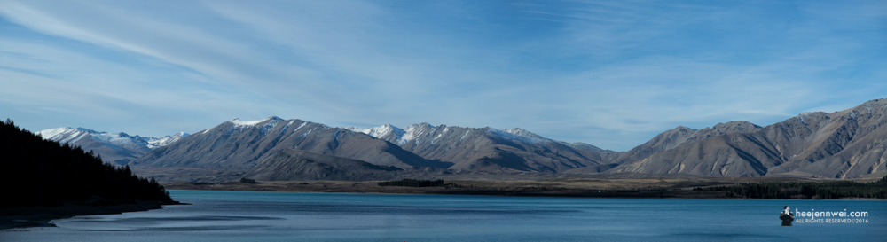 Lake Tekapo with snow-capped Mountain.