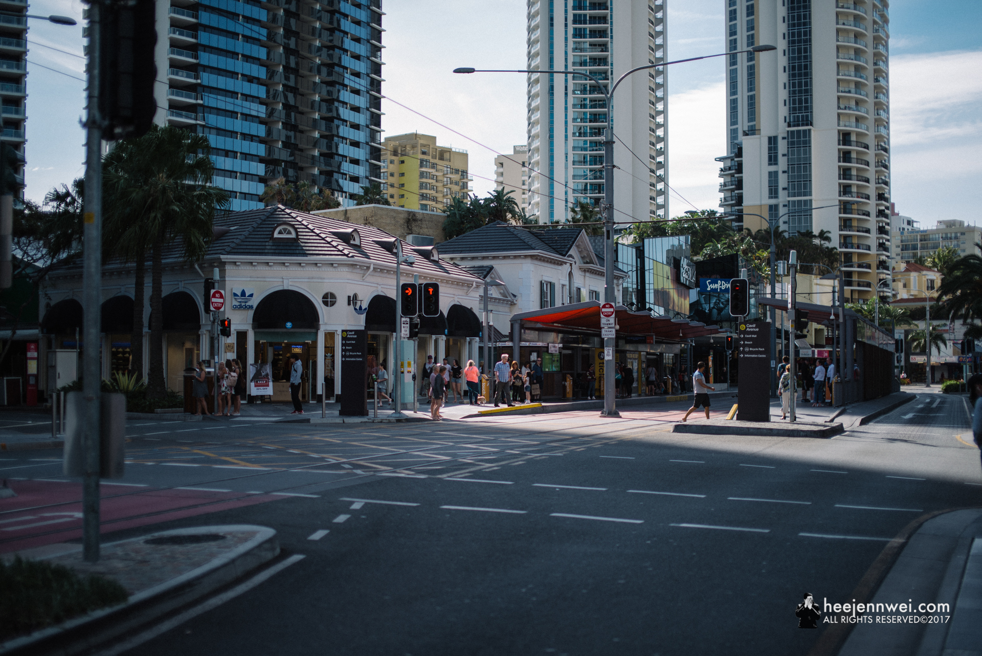 Nearing sunset, lovely long column shadow shaped the main street of Surfers Paradise.
