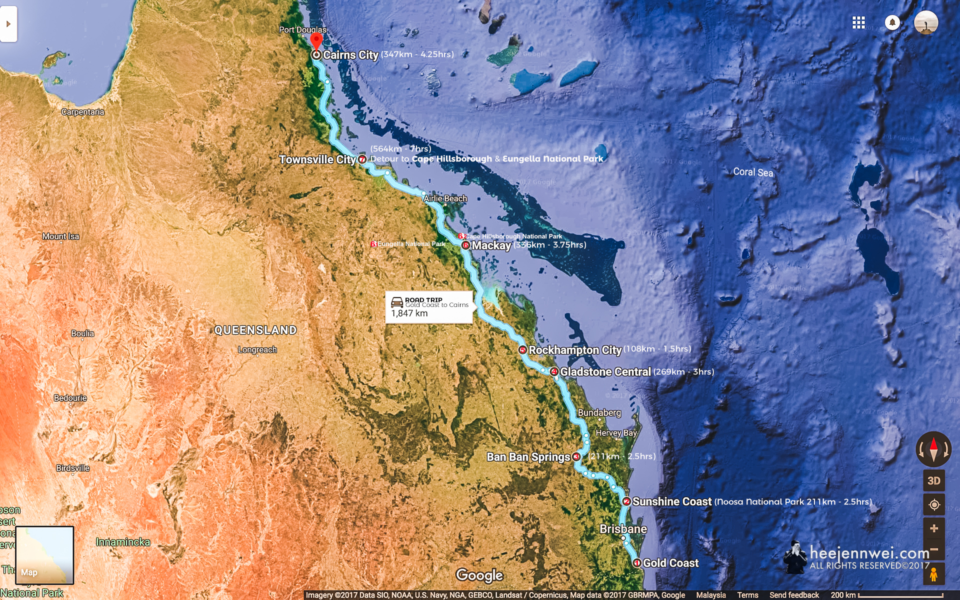 A 10 days (2,022km) road trip from Gold Coast to the Great Barrier Reef (Cairns City); with JetStar flight from Cairns back to Gold Coast.